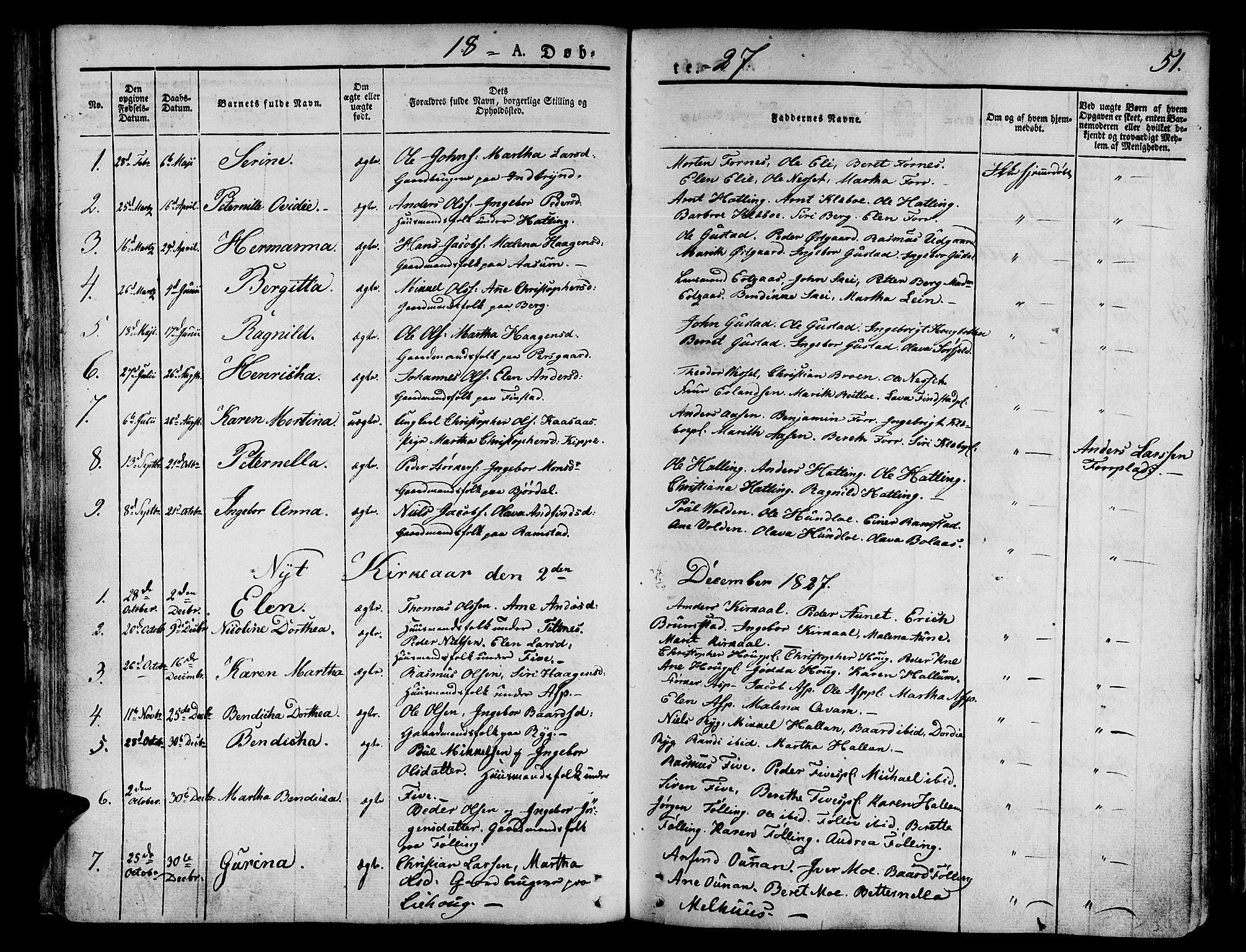 SAT, Ministerialprotokoller, klokkerbøker og fødselsregistre - Nord-Trøndelag, 746/L0445: Ministerialbok nr. 746A04, 1826-1846, s. 51