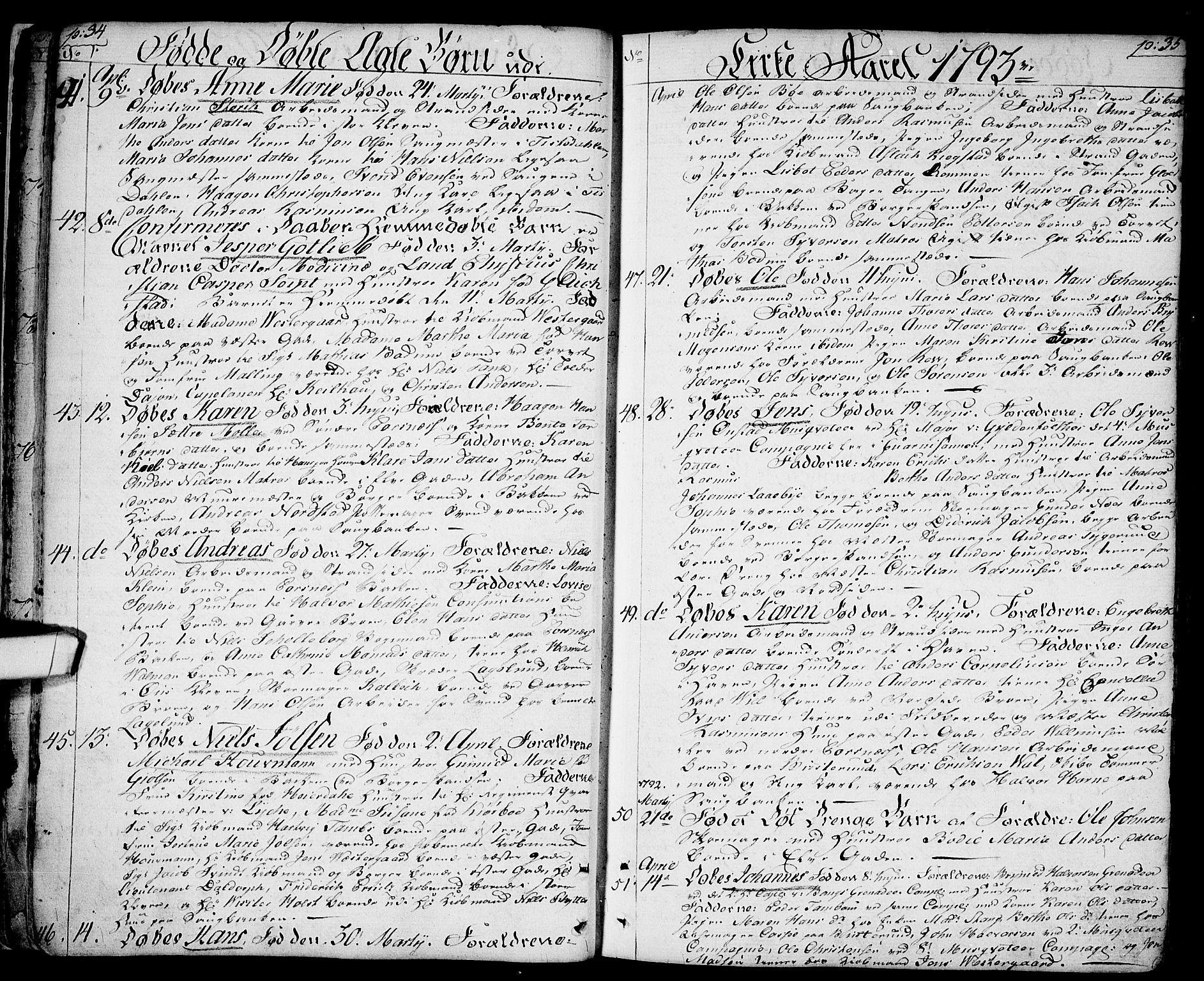 SAO, Halden prestekontor Kirkebøker, F/Fa/L0002: Ministerialbok nr. I 2, 1792-1812, s. 34-35