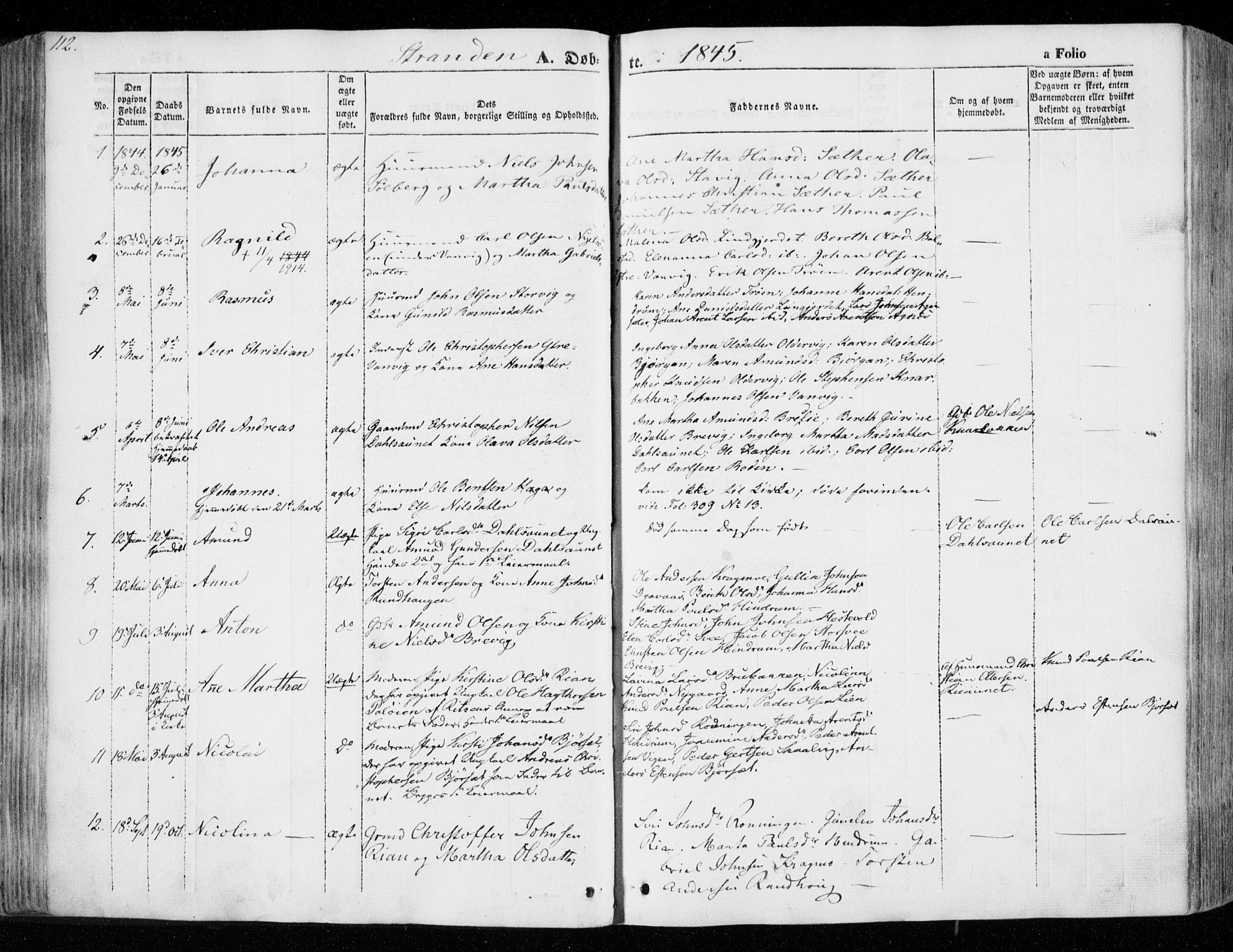 SAT, Ministerialprotokoller, klokkerbøker og fødselsregistre - Nord-Trøndelag, 701/L0007: Ministerialbok nr. 701A07 /2, 1842-1854, s. 112