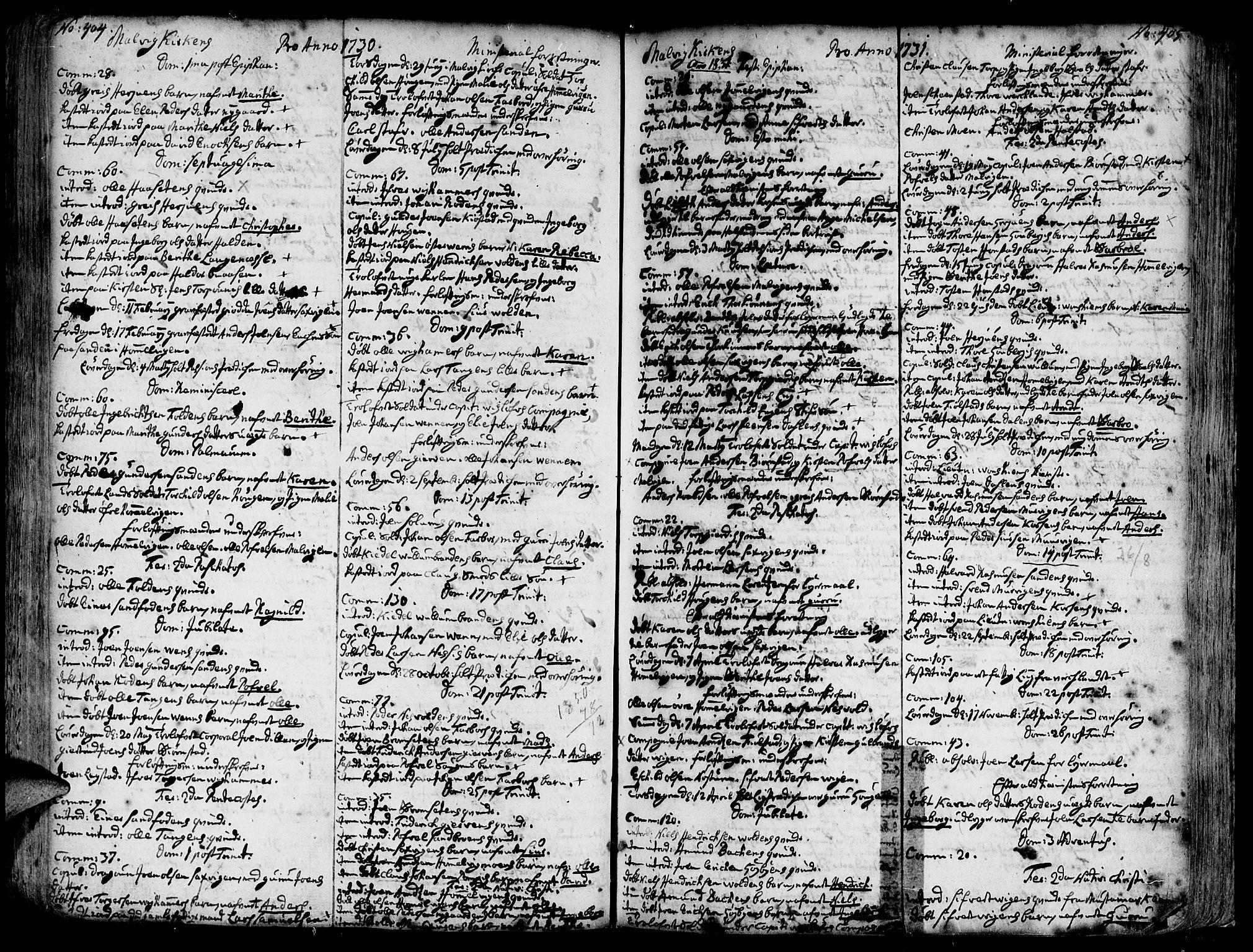 SAT, Ministerialprotokoller, klokkerbøker og fødselsregistre - Sør-Trøndelag, 606/L0277: Ministerialbok nr. 606A01 /3, 1727-1780, s. 404-405