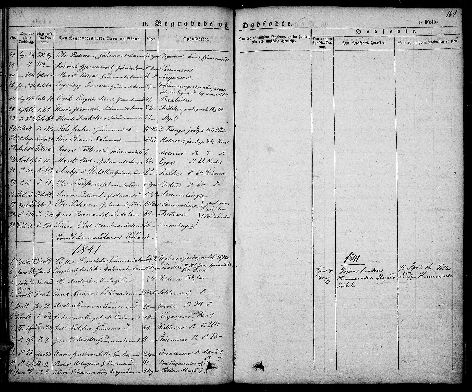 SAH, Slidre prestekontor, Ministerialbok nr. 3, 1831-1843, s. 161