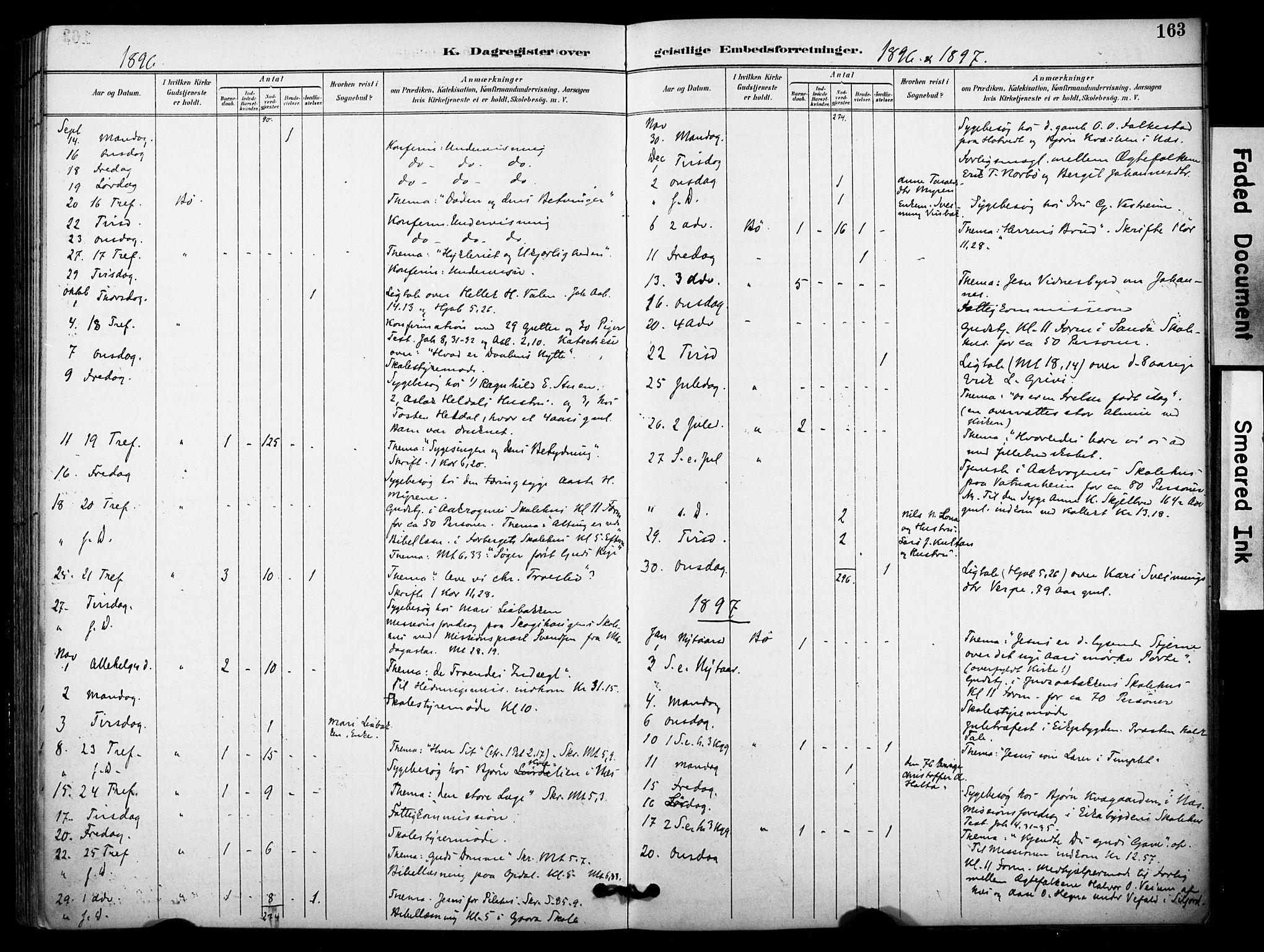 SAKO, Bø kirkebøker, F/Fa/L0011: Ministerialbok nr. 11, 1892-1900, s. 163