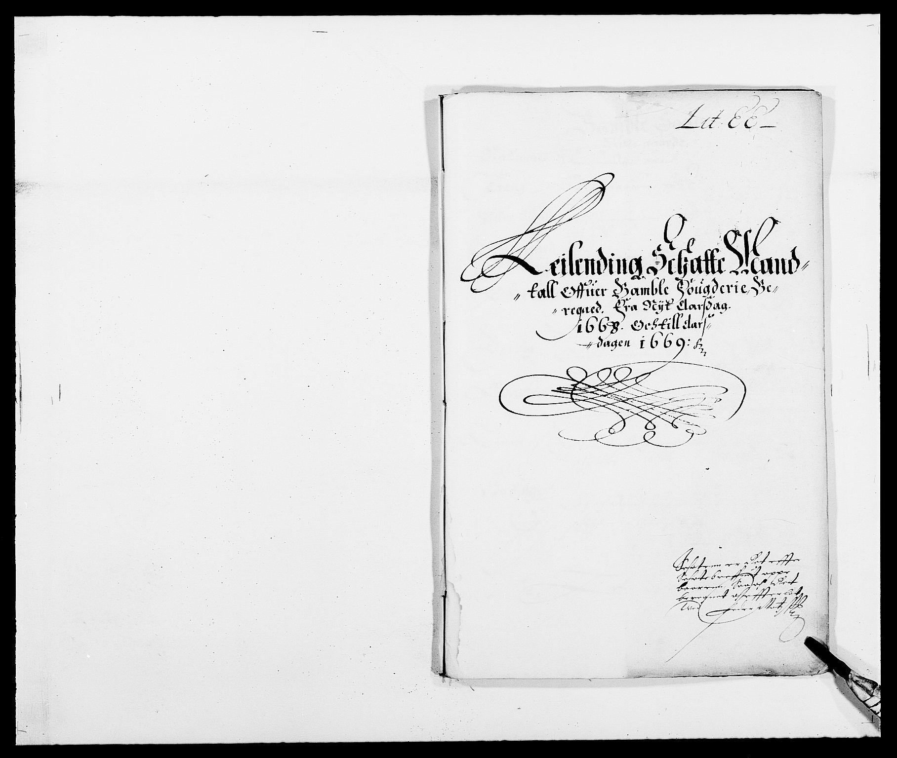 RA, Rentekammeret inntil 1814, Reviderte regnskaper, Fogderegnskap, R34/L2040: Fogderegnskap Bamble, 1662-1669, s. 1