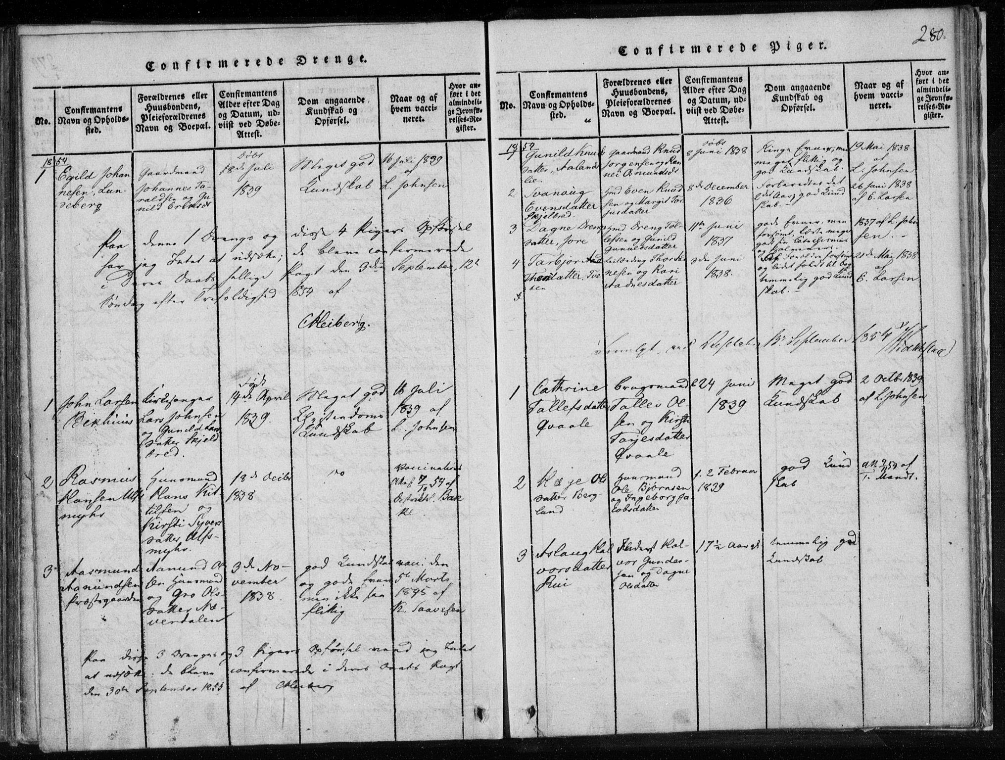SAKO, Lårdal kirkebøker, F/Fa/L0005: Ministerialbok nr. I 5, 1815-1860, s. 280