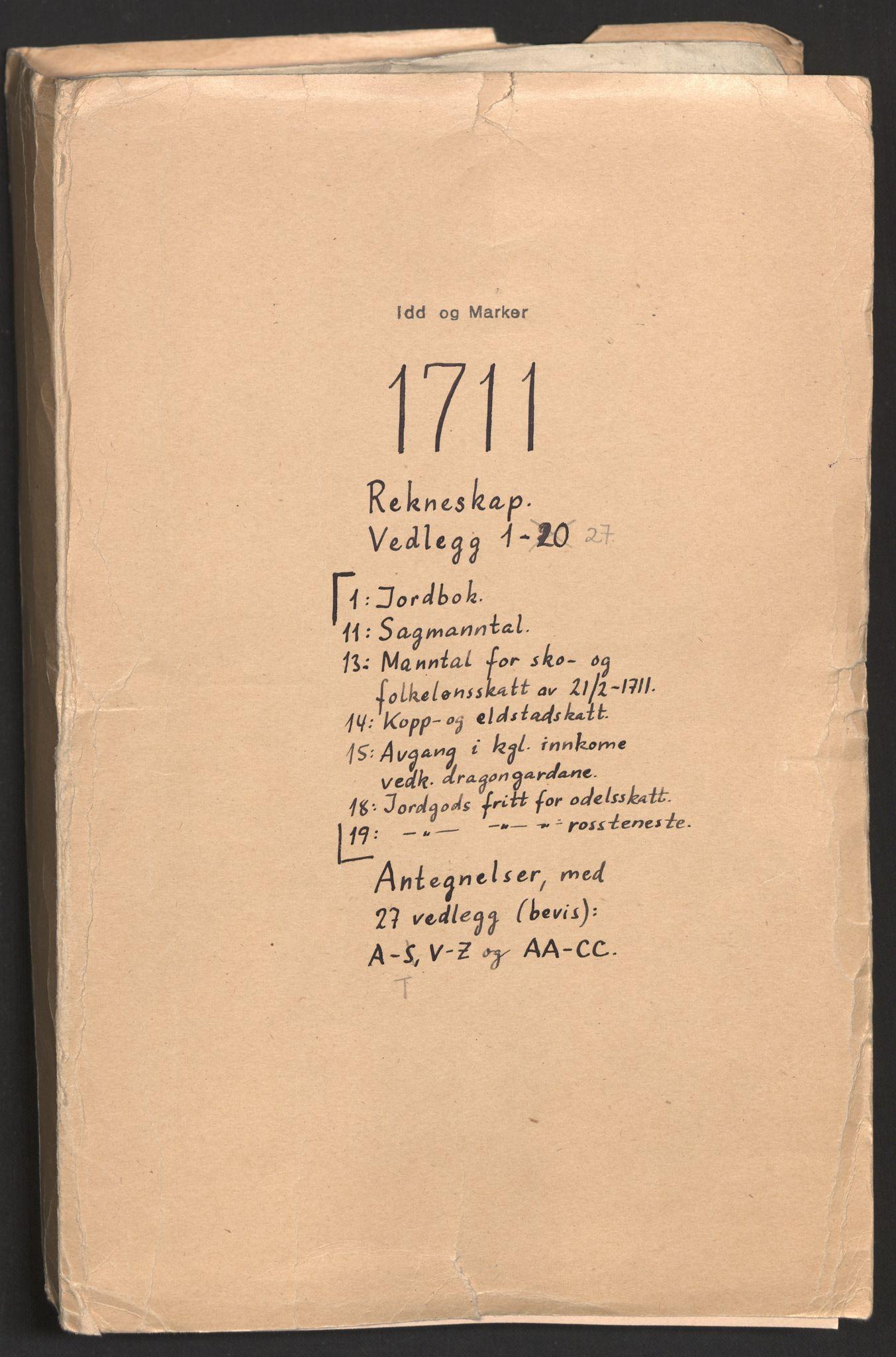 RA, Rentekammeret inntil 1814, Reviderte regnskaper, Fogderegnskap, R01/L0020: Fogderegnskap Idd og Marker, 1711, s. 2