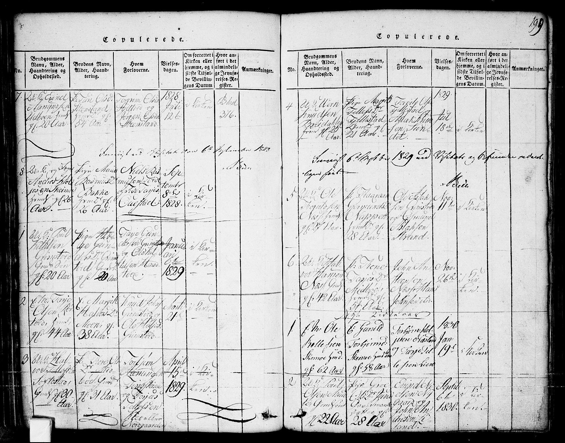 SAKO, Nissedal kirkebøker, G/Ga/L0001: Klokkerbok nr. I 1, 1814-1860, s. 199