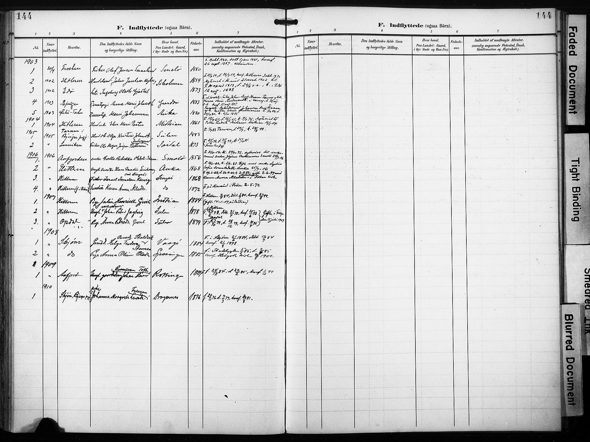 SAT, Ministerialprotokoller, klokkerbøker og fødselsregistre - Sør-Trøndelag, 640/L0580: Ministerialbok nr. 640A05, 1902-1910, s. 144