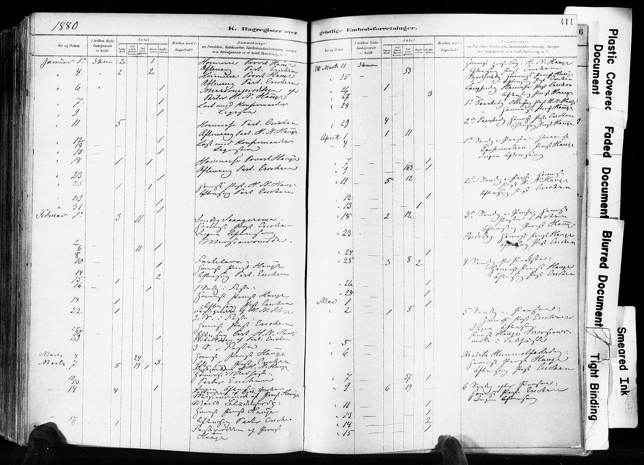 SAKO, Skien kirkebøker, F/Fa/L0009: Ministerialbok nr. 9, 1878-1890, s. 411