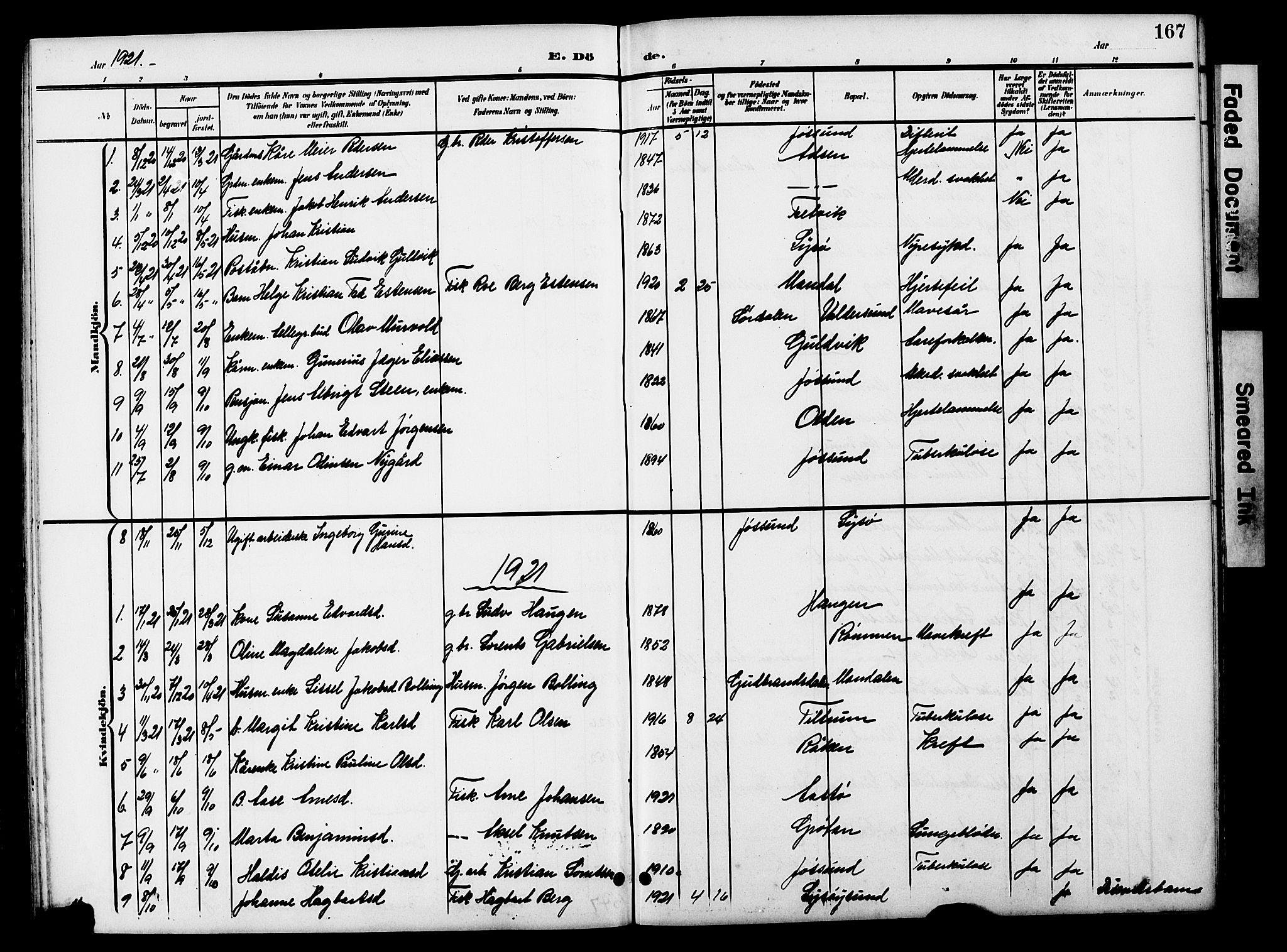 SAT, Ministerialprotokoller, klokkerbøker og fødselsregistre - Sør-Trøndelag, 654/L0666: Klokkerbok nr. 654C02, 1901-1925, s. 167