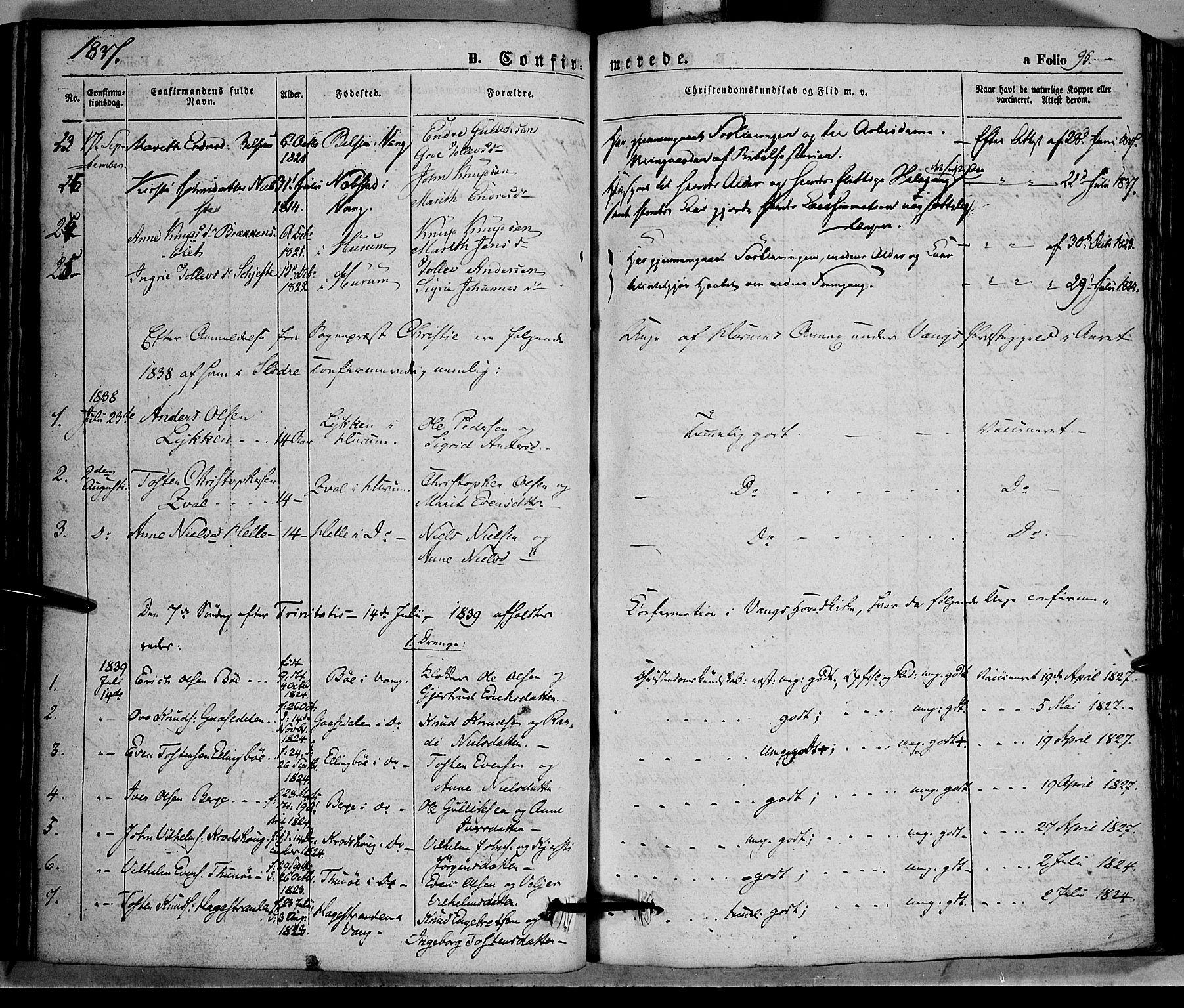 SAH, Vang prestekontor, Valdres, Ministerialbok nr. 5, 1831-1845, s. 95