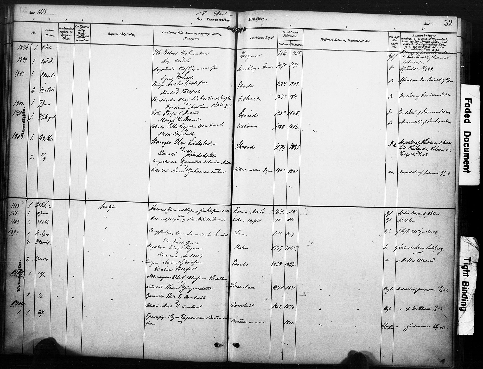 SAKO, Kviteseid kirkebøker, F/Fc/L0002: Ministerialbok nr. III 2, 1882-1908, s. 52