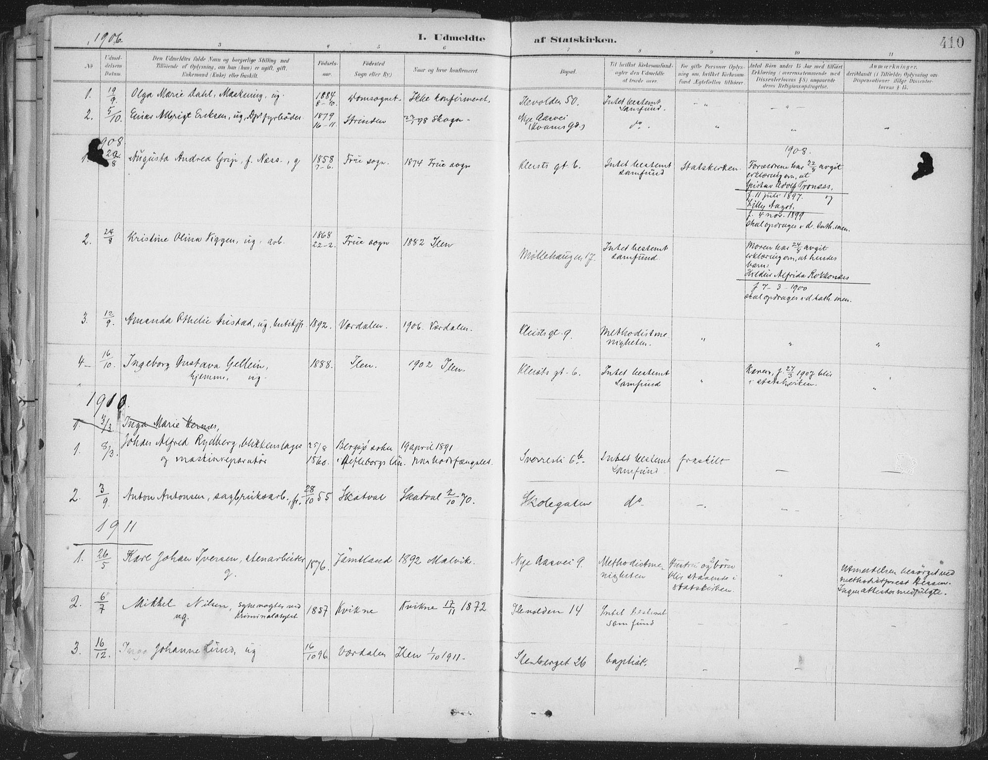 SAT, Ministerialprotokoller, klokkerbøker og fødselsregistre - Sør-Trøndelag, 603/L0167: Ministerialbok nr. 603A06, 1896-1932, s. 410
