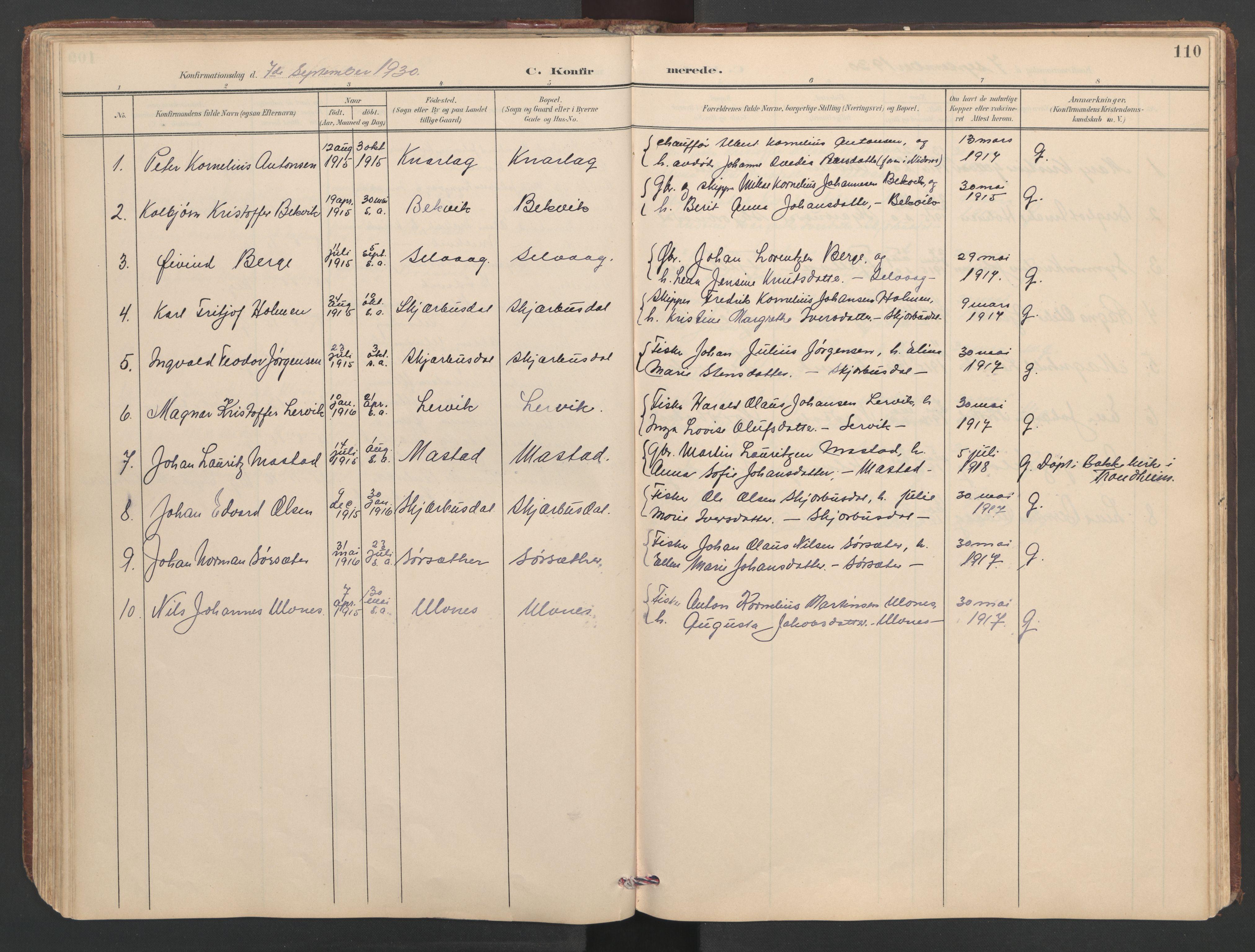 SAT, Ministerialprotokoller, klokkerbøker og fødselsregistre - Sør-Trøndelag, 638/L0571: Klokkerbok nr. 638C03, 1901-1930, s. 110