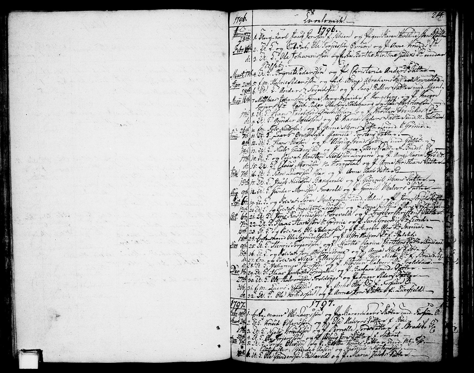 SAKO, Gjerpen kirkebøker, F/Fa/L0003: Ministerialbok nr. 3, 1796-1814, s. 214