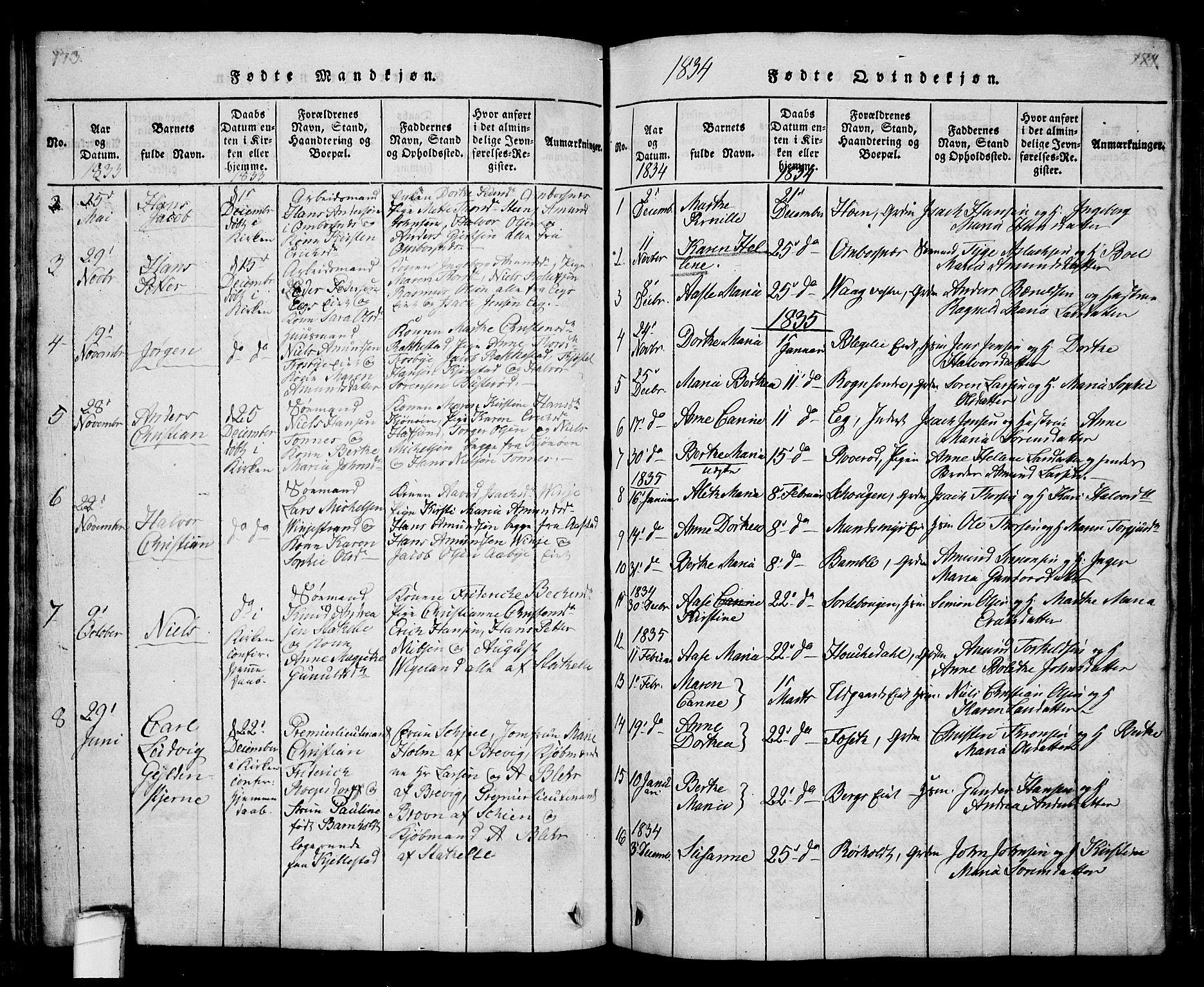 SAKO, Bamble kirkebøker, G/Ga/L0005: Klokkerbok nr. I 5, 1814-1855, s. 173-174