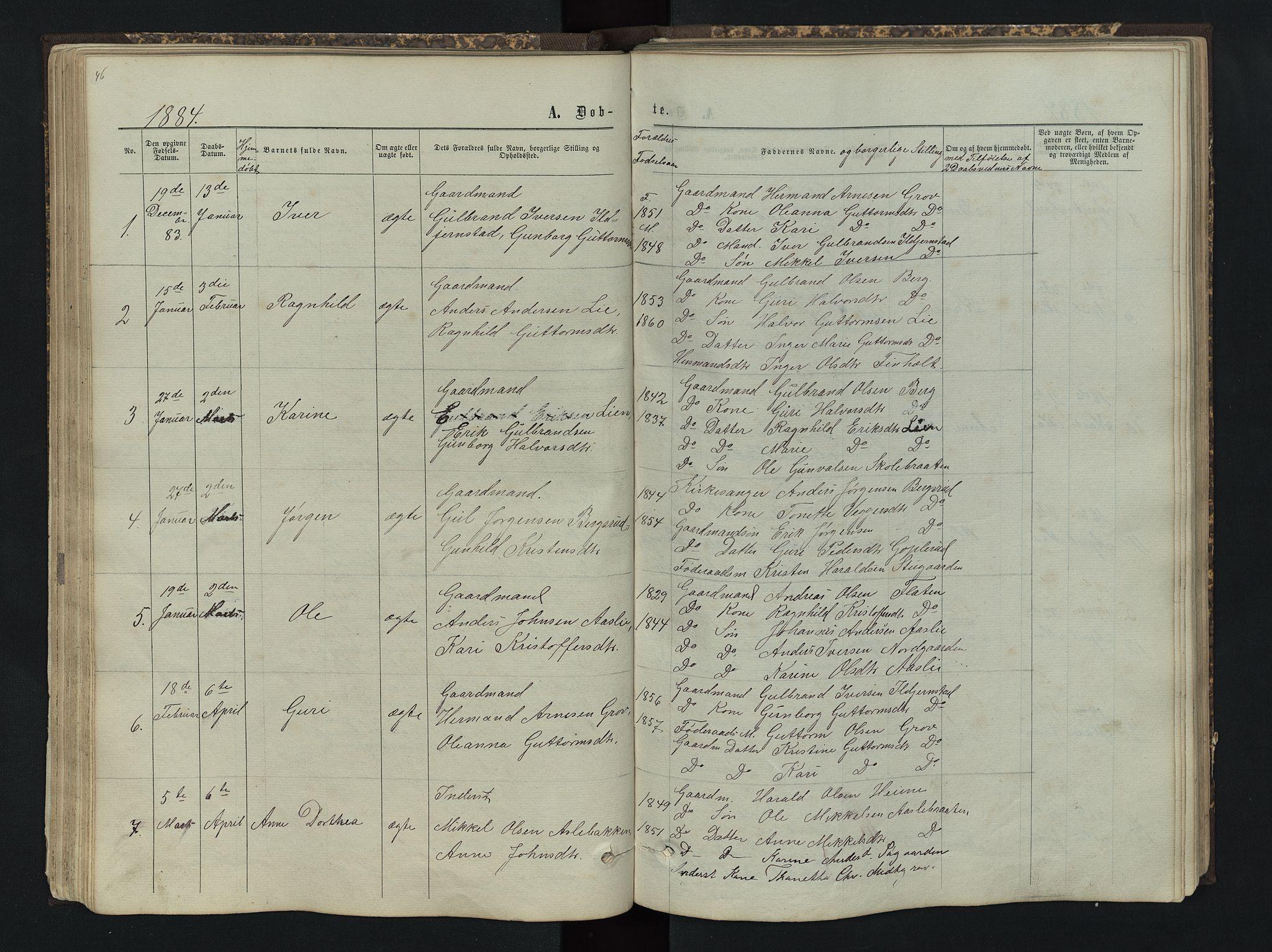 SAH, Sør-Aurdal prestekontor, Klokkerbok nr. 4, 1865-1893, s. 46