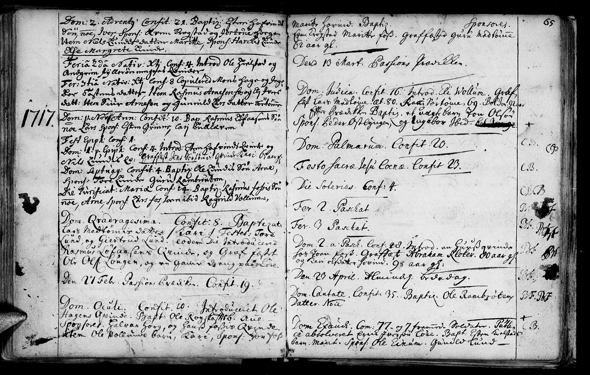 SAT, Ministerialprotokoller, klokkerbøker og fødselsregistre - Sør-Trøndelag, 692/L1101: Ministerialbok nr. 692A01, 1690-1746, s. 65