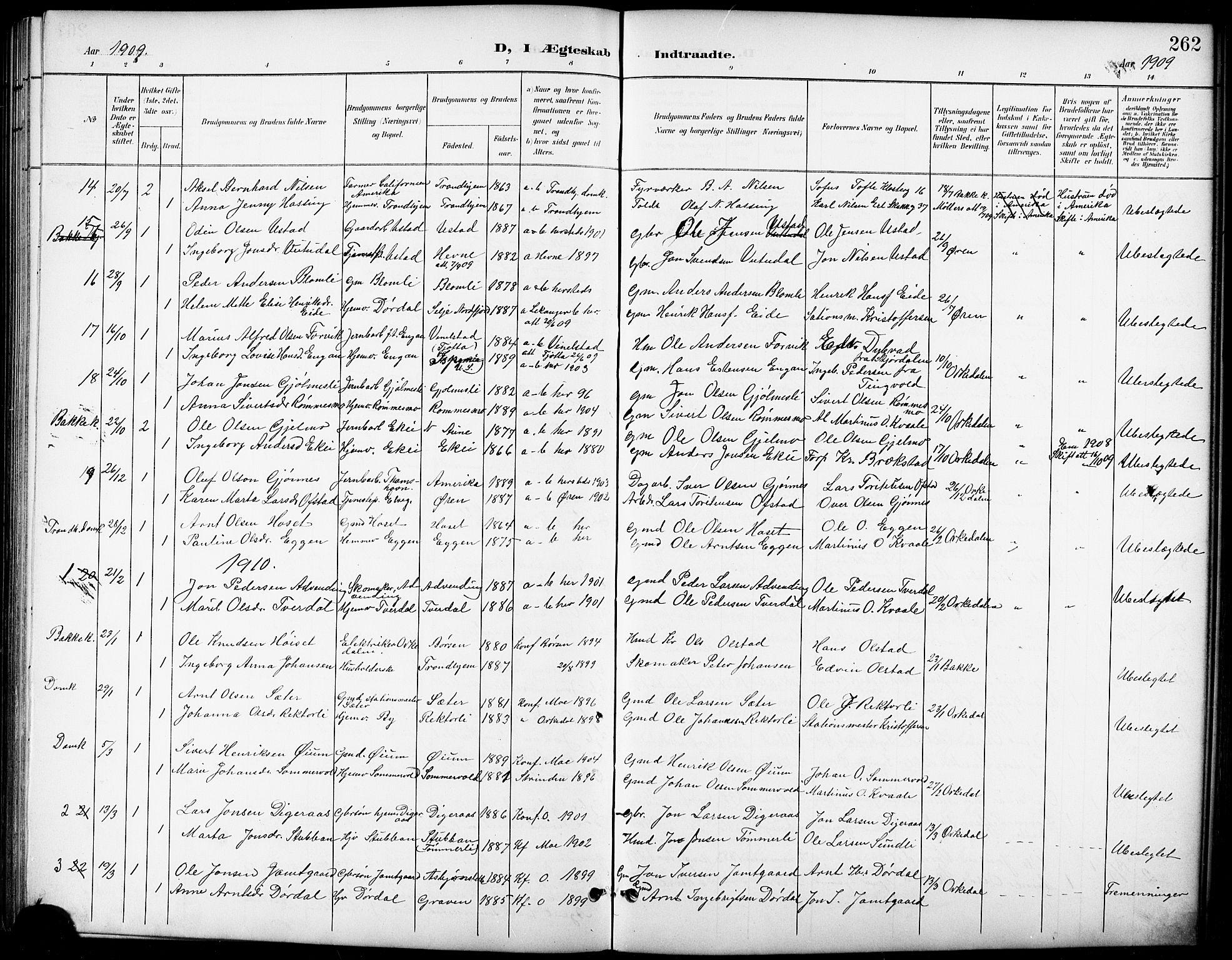 SAT, Ministerialprotokoller, klokkerbøker og fødselsregistre - Sør-Trøndelag, 668/L0819: Klokkerbok nr. 668C08, 1899-1912, s. 262