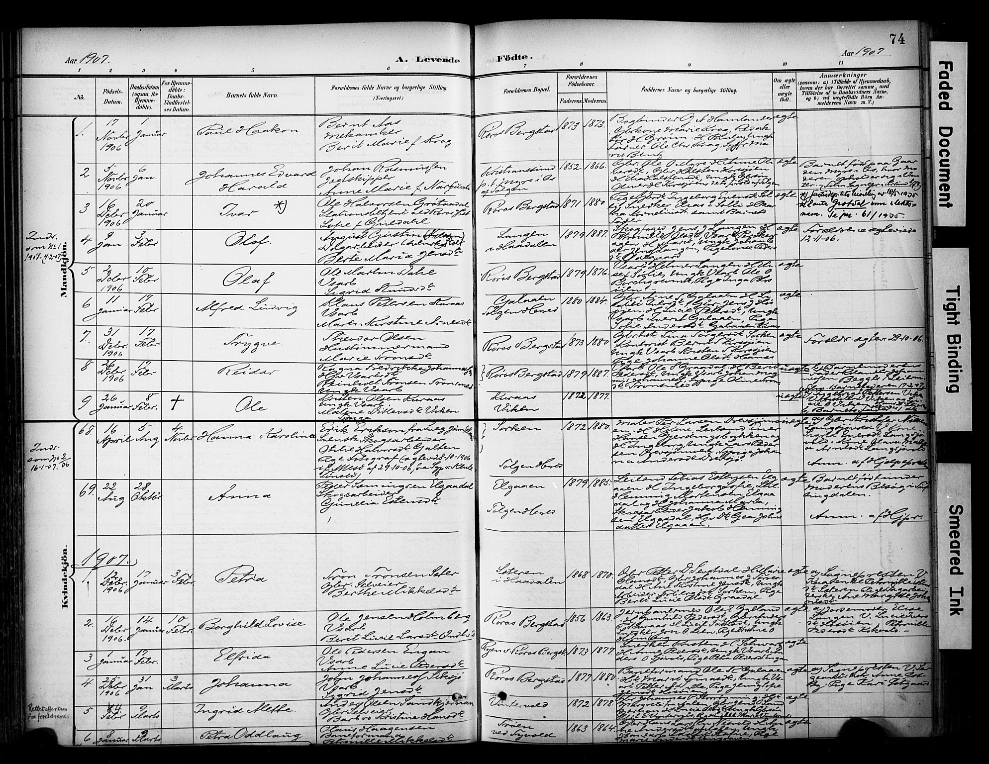 SAT, Ministerialprotokoller, klokkerbøker og fødselsregistre - Sør-Trøndelag, 681/L0936: Ministerialbok nr. 681A14, 1899-1908, s. 74