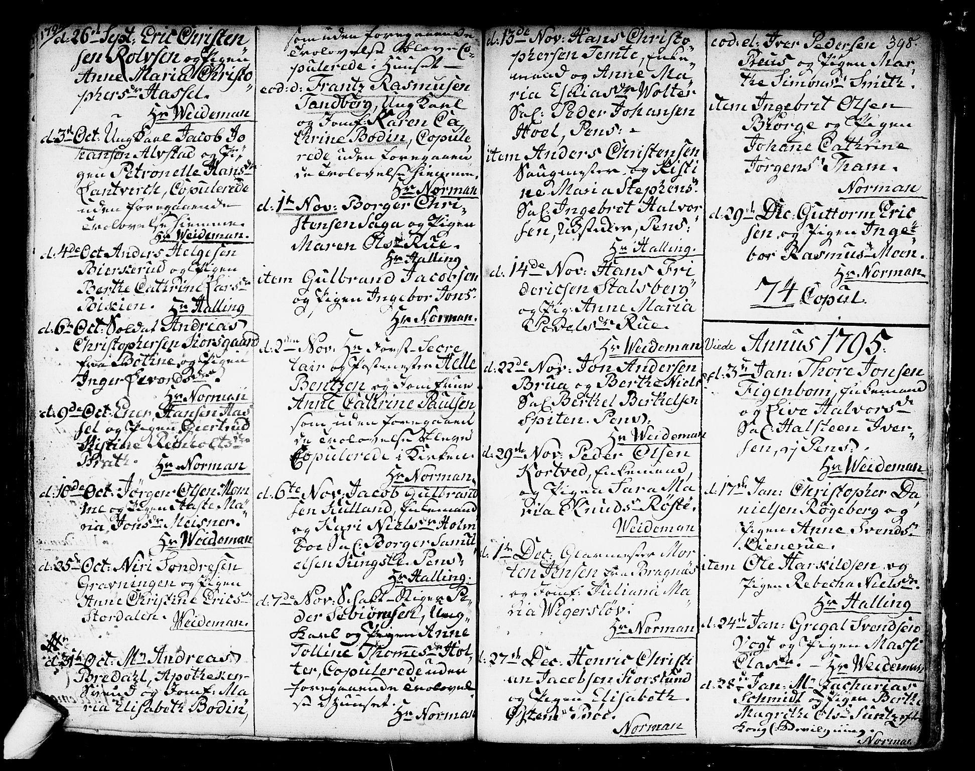 SAKO, Kongsberg kirkebøker, F/Fa/L0006: Ministerialbok nr. I 6, 1783-1797, s. 398