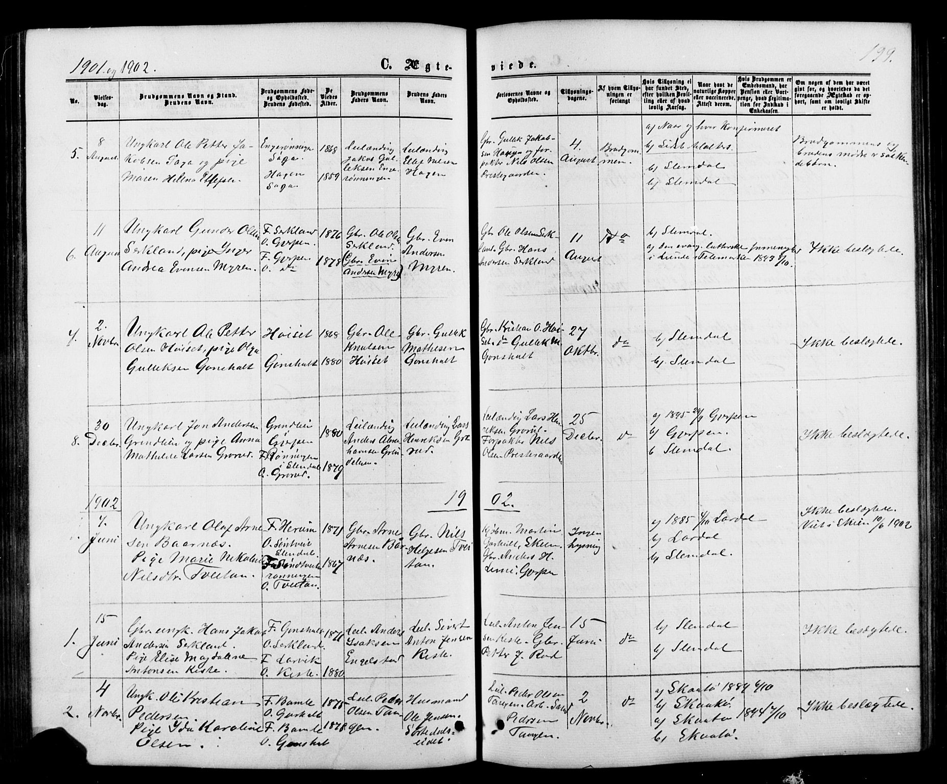 SAKO, Siljan kirkebøker, G/Ga/L0002: Klokkerbok nr. 2, 1864-1908, s. 199