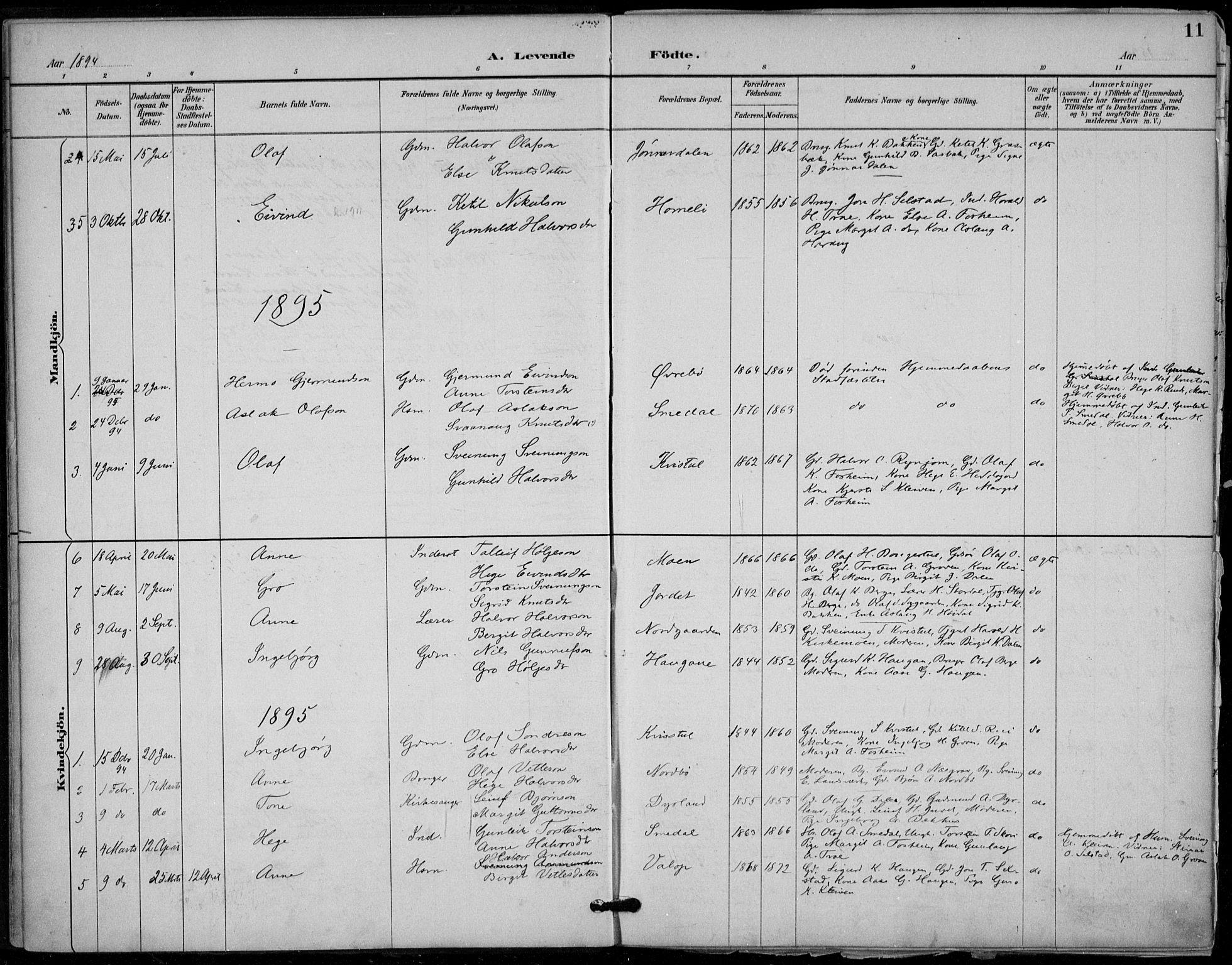 SAKO, Seljord kirkebøker, F/Fc/L0002: Ministerialbok nr. III 2, 1887-1920, s. 11