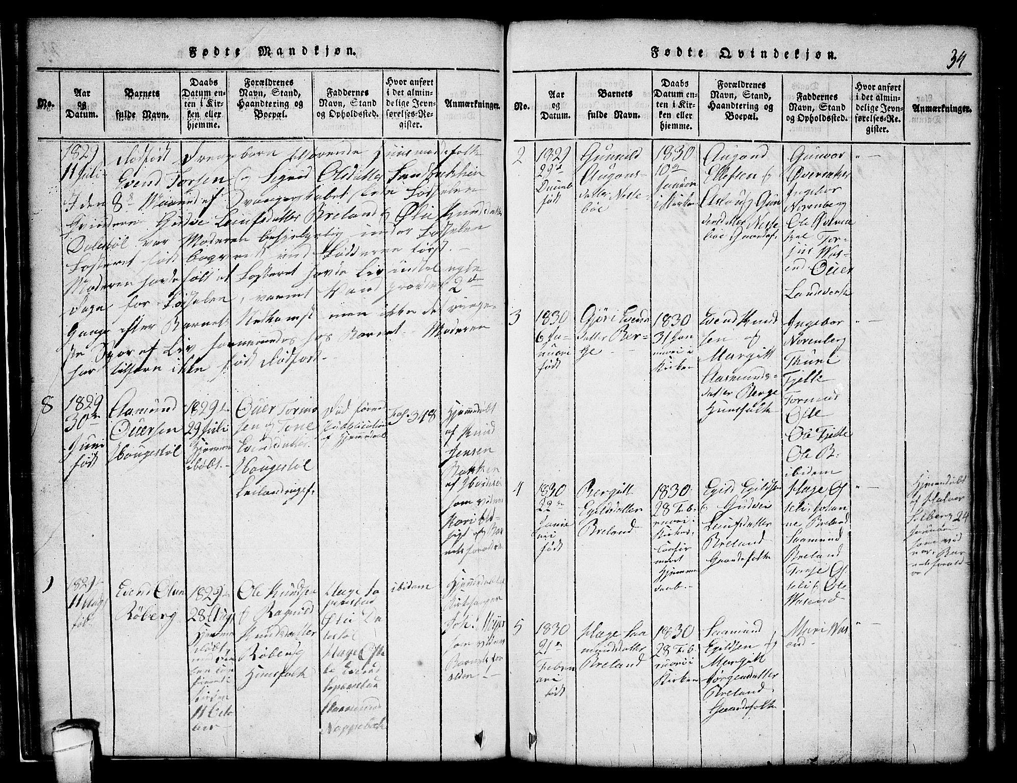 SAKO, Lårdal kirkebøker, G/Gc/L0001: Klokkerbok nr. III 1, 1815-1854, s. 34