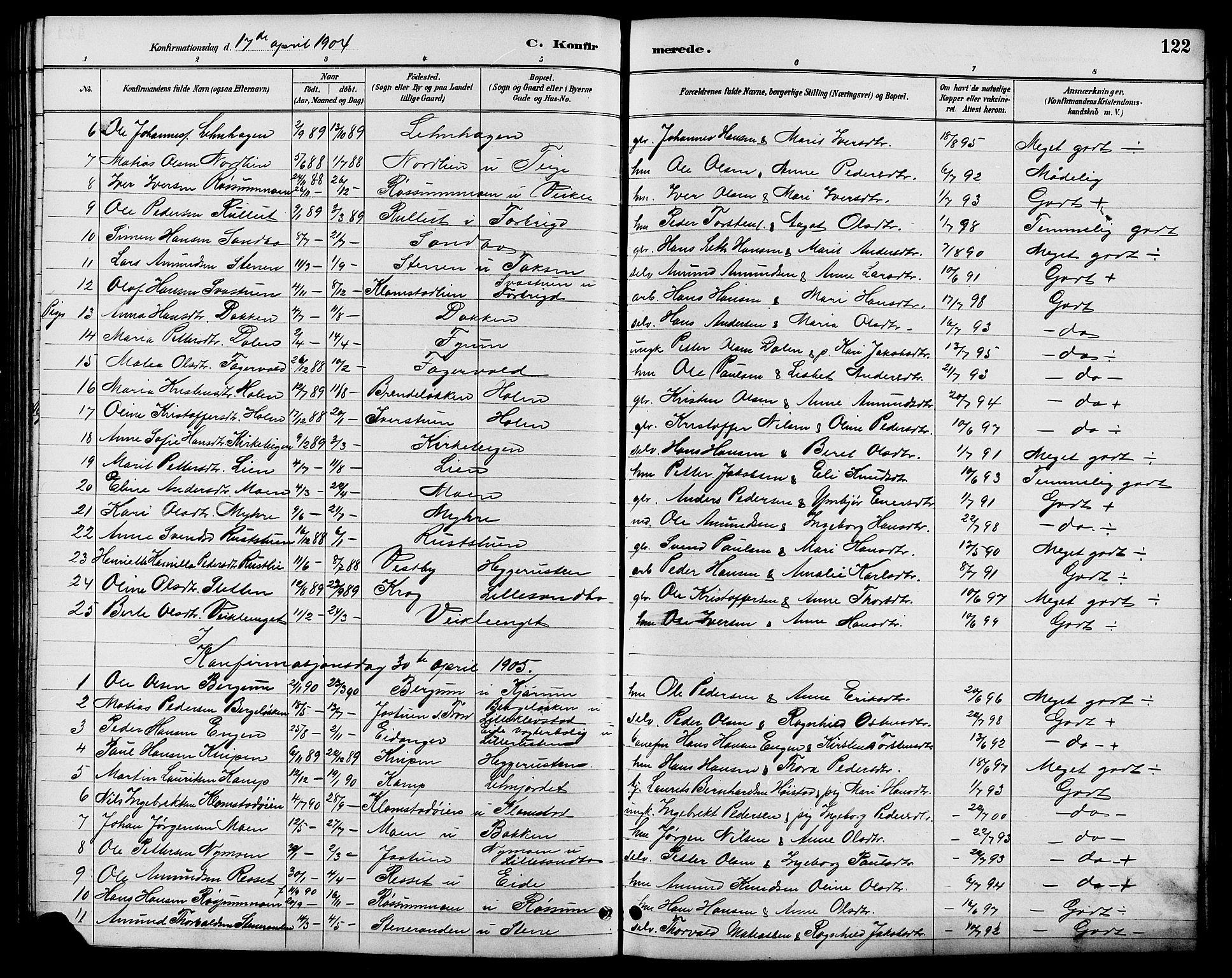 SAH, Nord-Fron prestekontor, Klokkerbok nr. 6, 1887-1914, s. 122