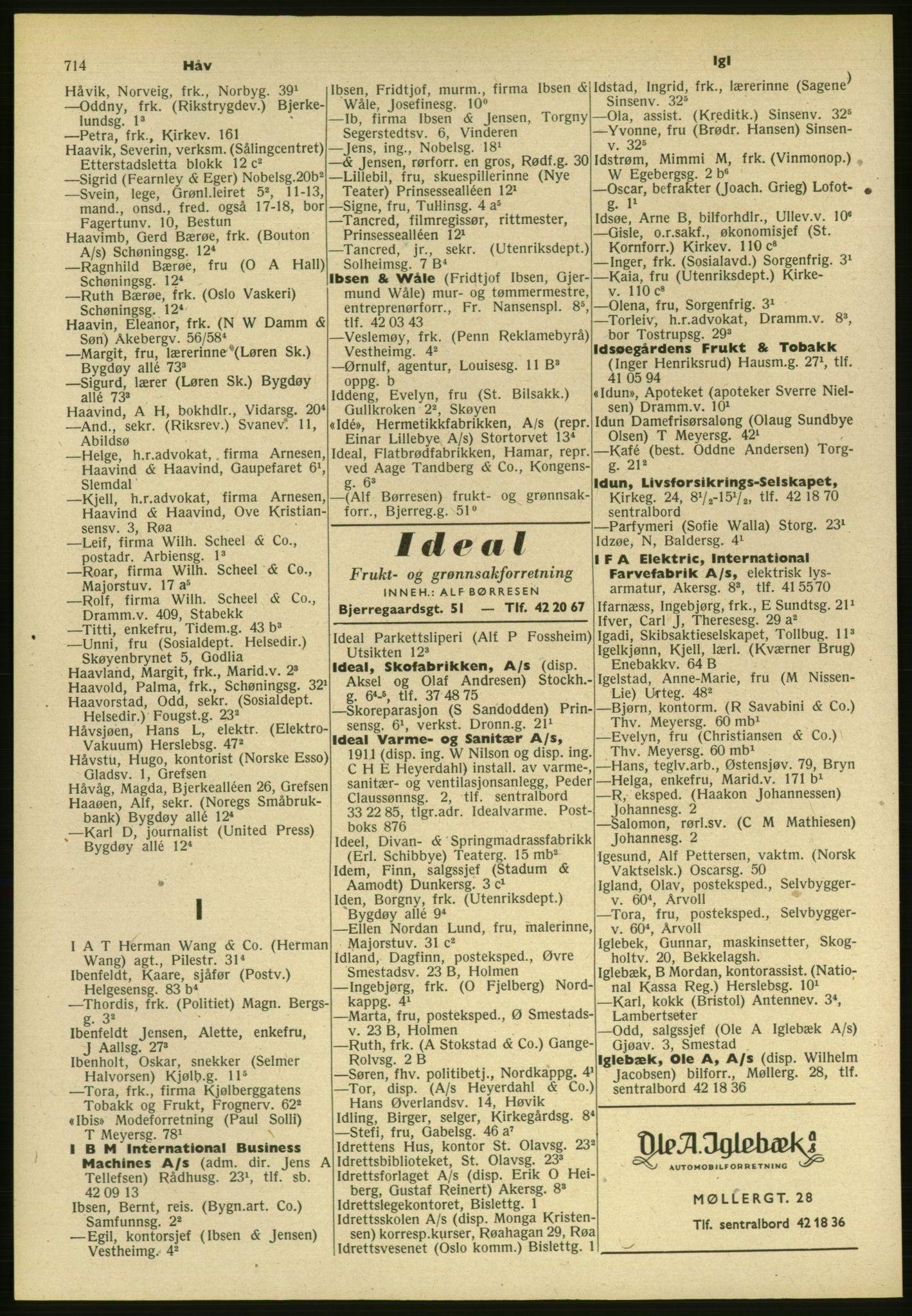 PUBL, Kristiania/Oslo adressebok, 1954, s. 714