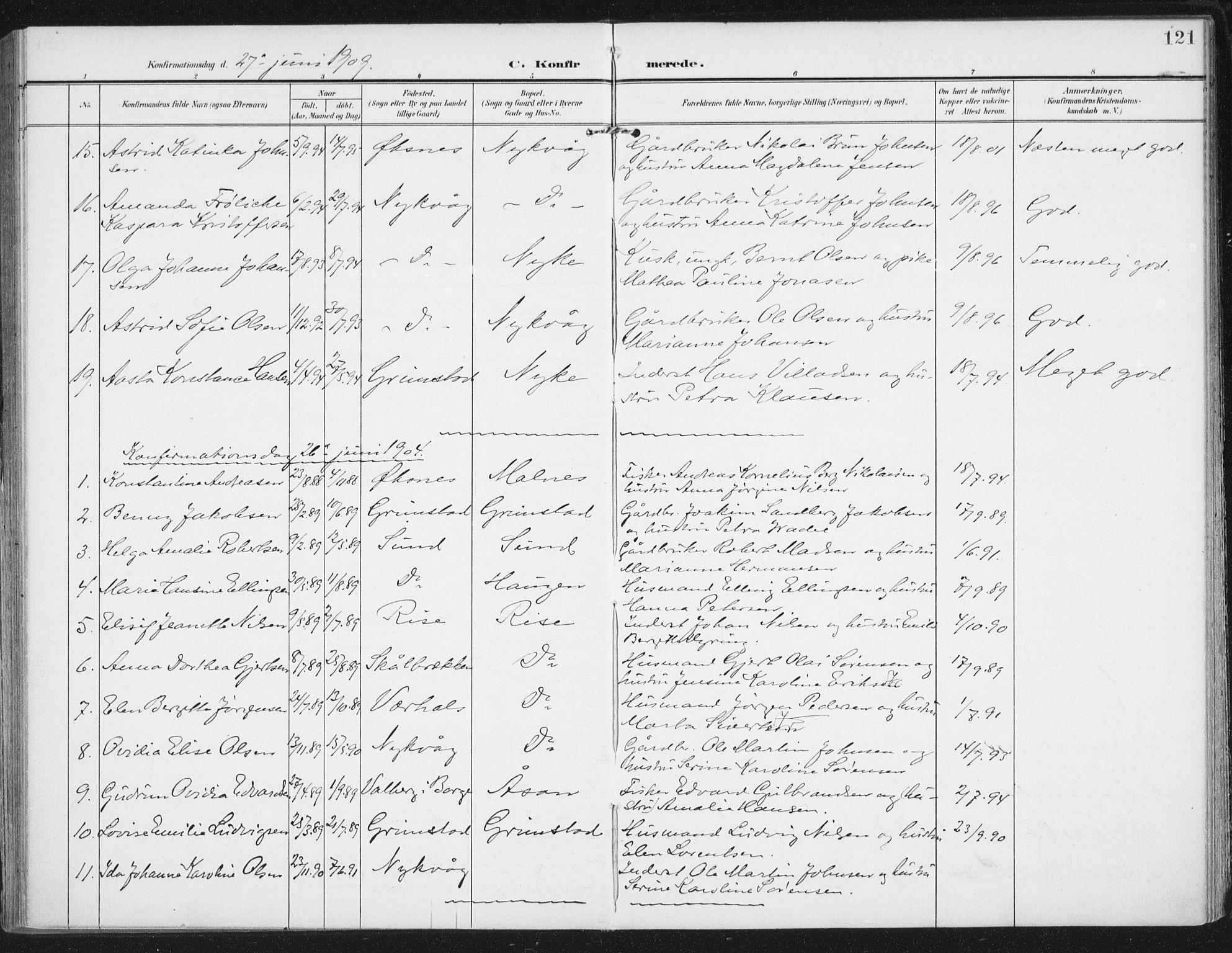 SAT, Ministerialprotokoller, klokkerbøker og fødselsregistre - Nordland, 892/L1321: Ministerialbok nr. 892A02, 1902-1918, s. 121