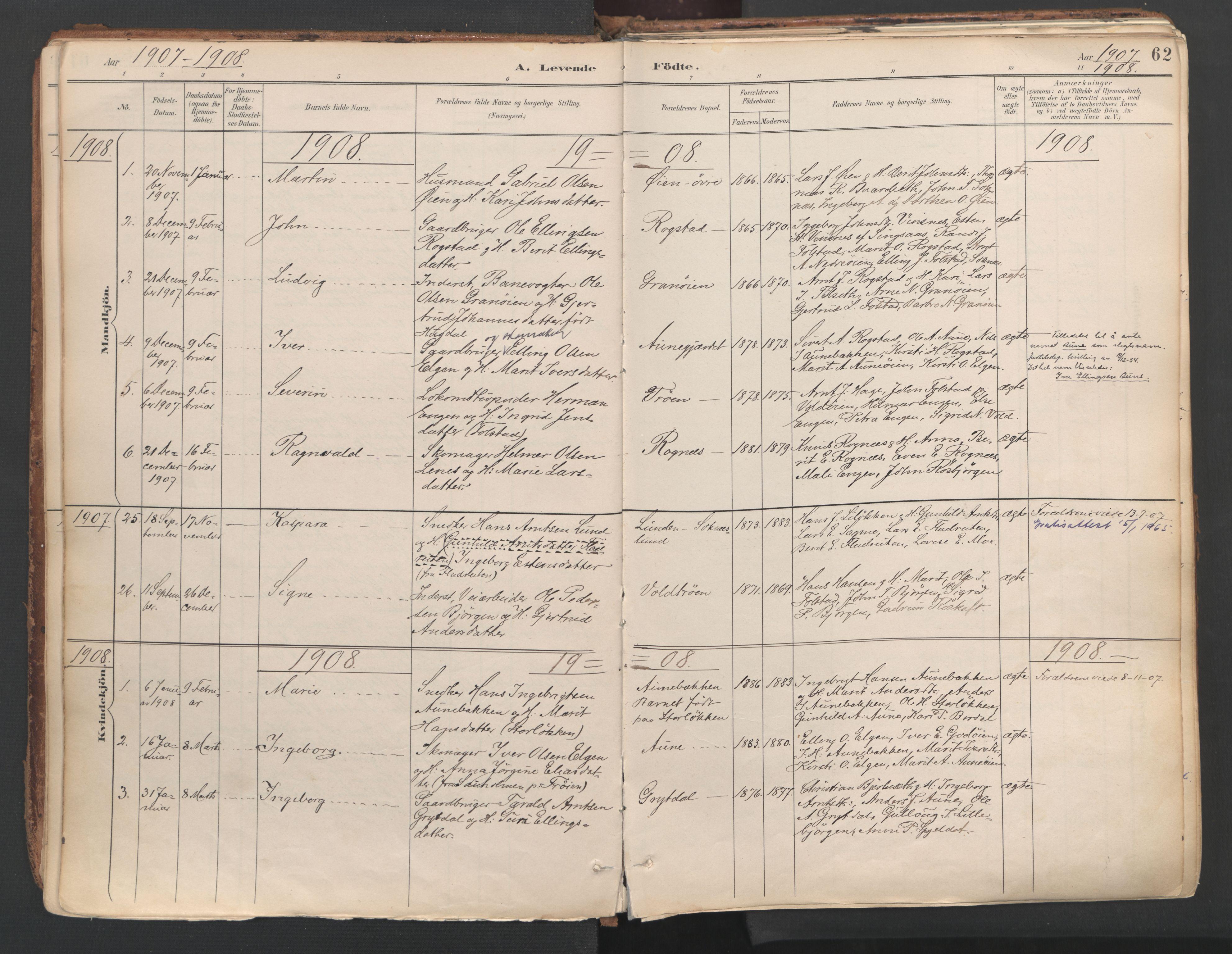 SAT, Ministerialprotokoller, klokkerbøker og fødselsregistre - Sør-Trøndelag, 687/L1004: Ministerialbok nr. 687A10, 1891-1923, s. 62