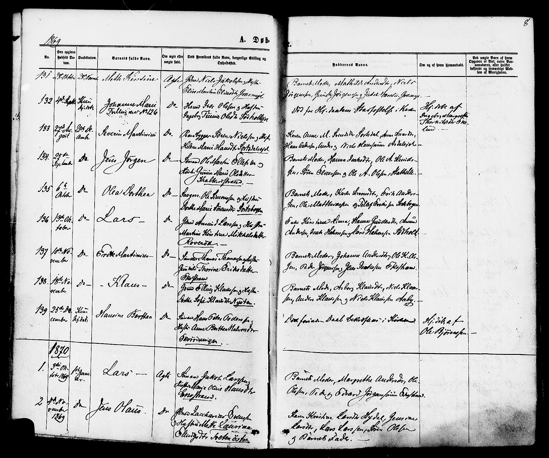 SAKO, Bamble kirkebøker, F/Fa/L0006: Ministerialbok nr. I 6, 1869-1877, s. 8