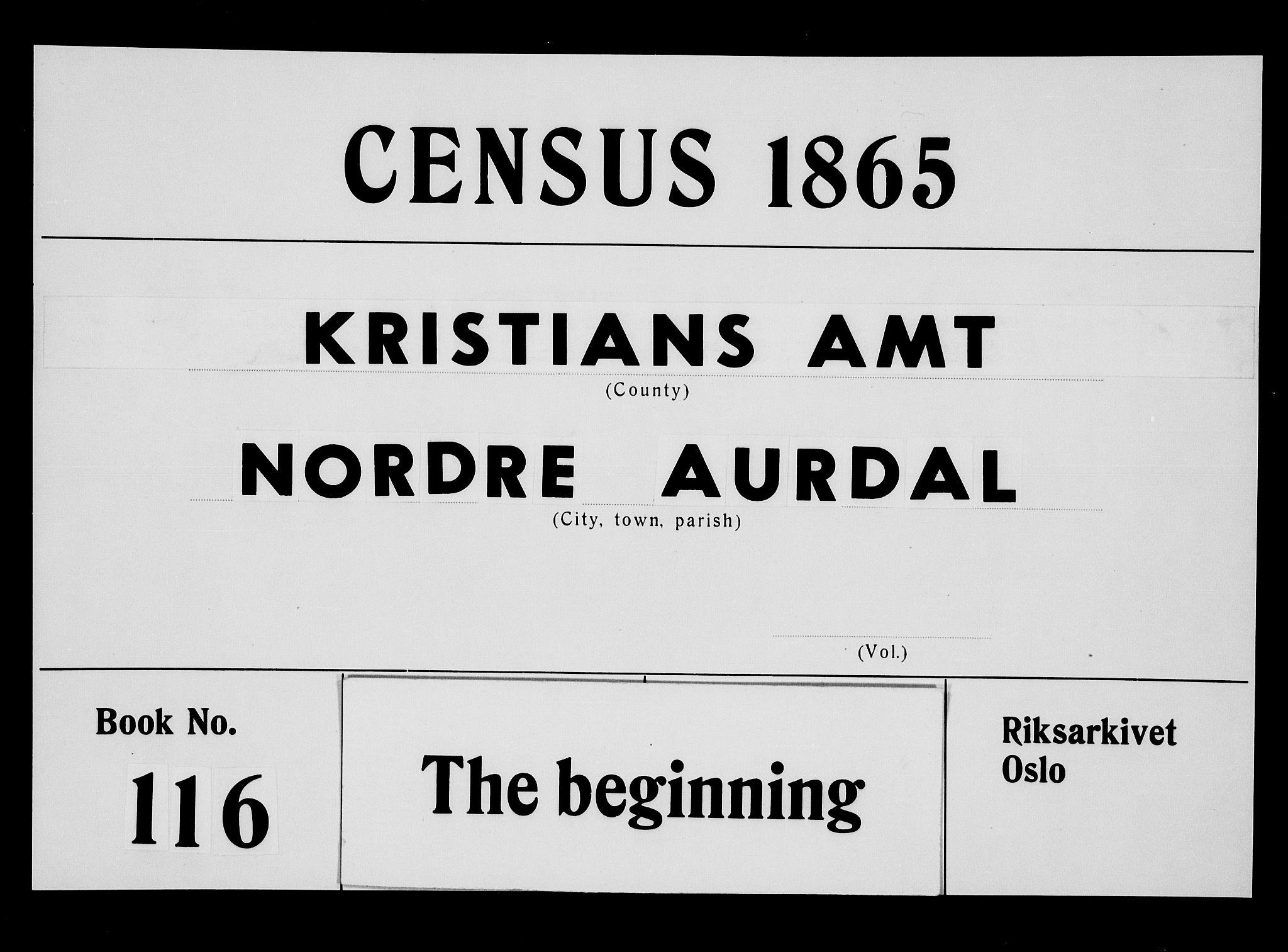 RA, Folketelling 1865 for 0542P Nord-Aurdal prestegjeld, 1865, s. 1