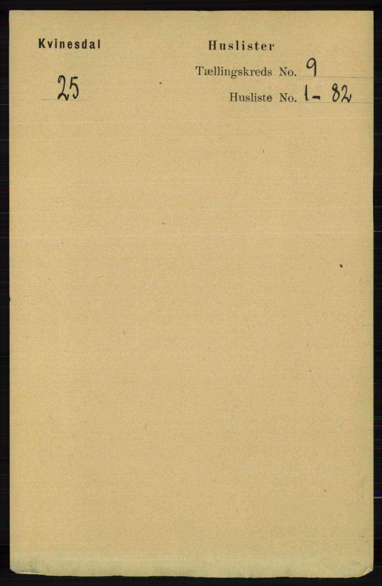 RA, Folketelling 1891 for 1037 Kvinesdal herred, 1891, s. 3208
