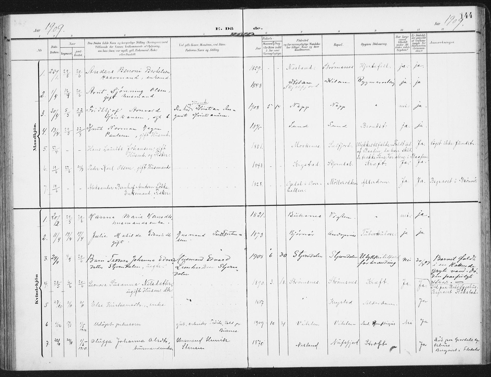 SAT, Ministerialprotokoller, klokkerbøker og fødselsregistre - Nordland, 885/L1206: Ministerialbok nr. 885A07, 1905-1915, s. 144