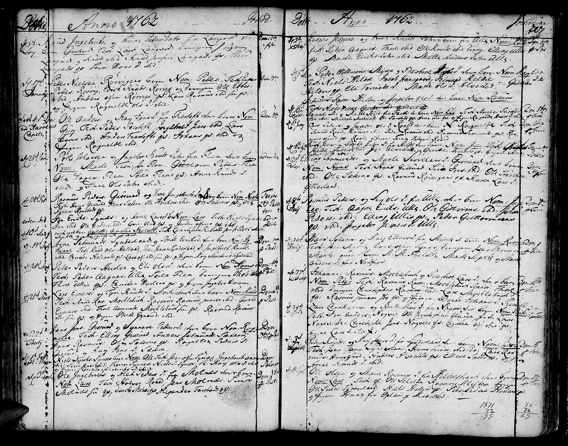 SAT, Ministerialprotokoller, klokkerbøker og fødselsregistre - Møre og Romsdal, 536/L0493: Ministerialbok nr. 536A02, 1739-1802, s. 206-207