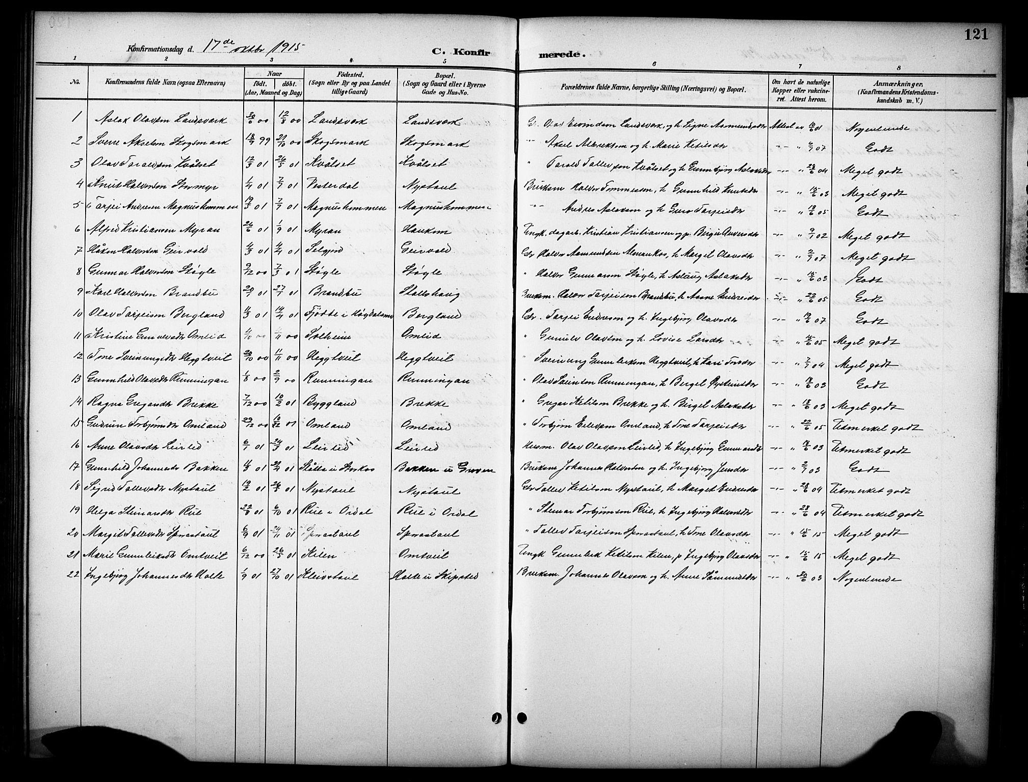 SAKO, Kviteseid kirkebøker, G/Gb/L0003: Klokkerbok nr. II 3, 1893-1933, s. 121