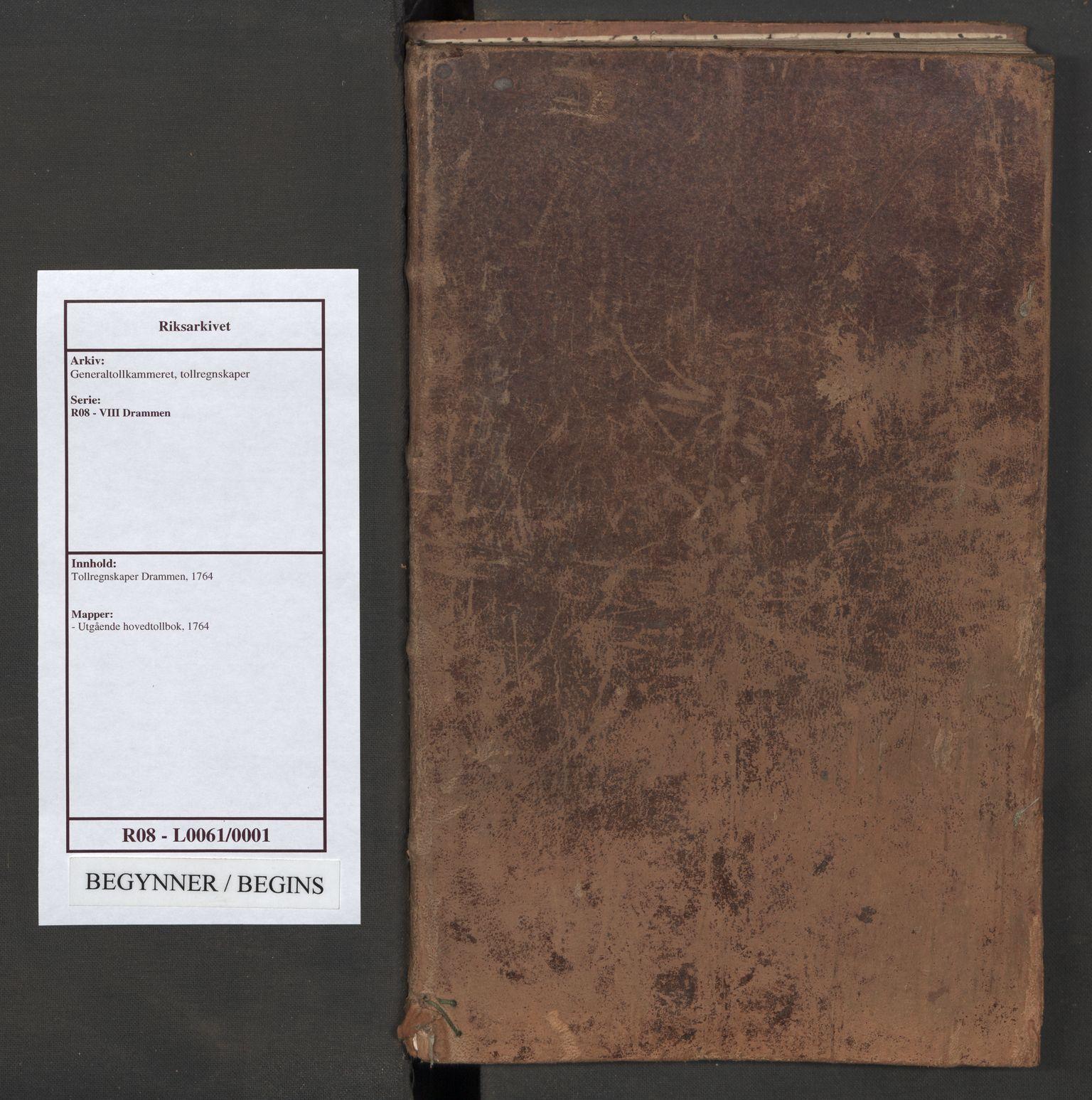 RA, Generaltollkammeret, tollregnskaper, R08/L0061: Tollregnskaper Drammen, 1764