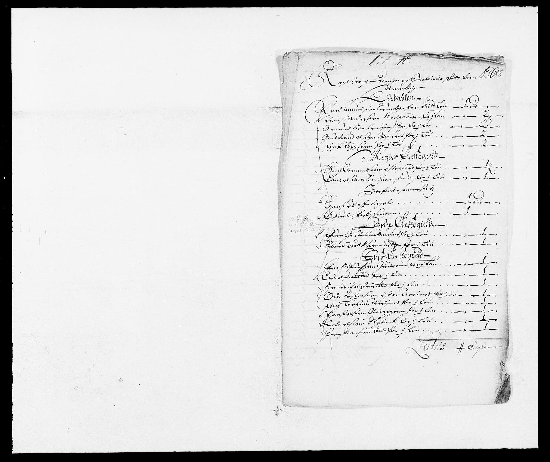 RA, Rentekammeret inntil 1814, Reviderte regnskaper, Fogderegnskap, R13/L0825: Fogderegnskap Solør, Odal og Østerdal, 1688, s. 231