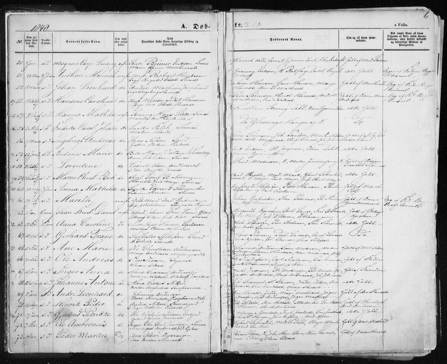 SATØ, Tromsø sokneprestkontor/stiftsprosti/domprosti, G/Ga/L0010kirke: Ministerialbok nr. 10, 1848-1855, s. 6