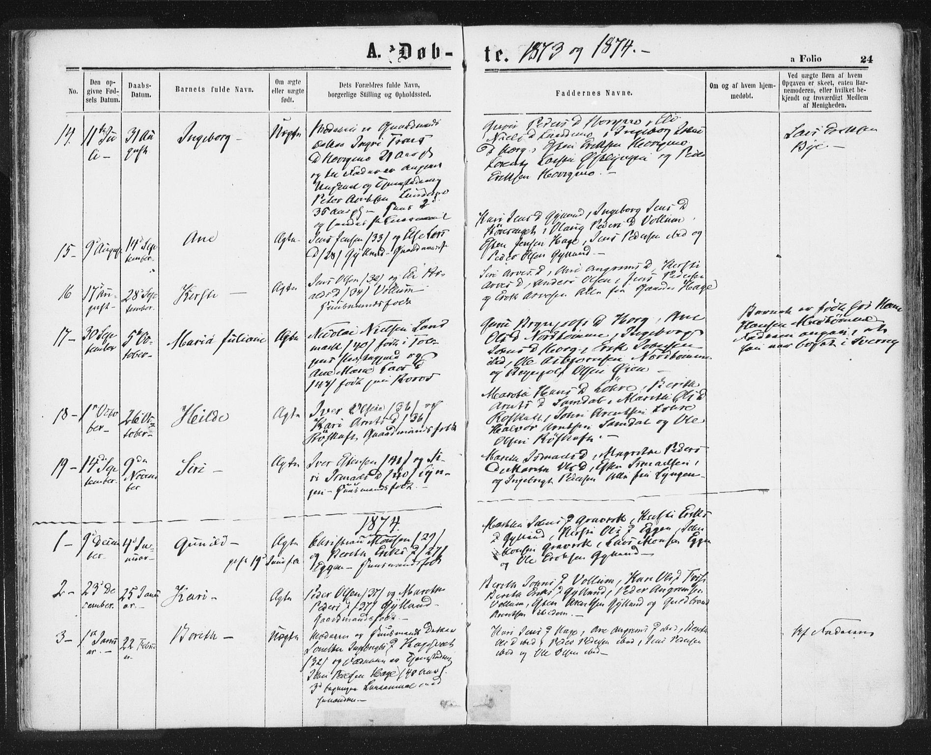 SAT, Ministerialprotokoller, klokkerbøker og fødselsregistre - Sør-Trøndelag, 692/L1104: Ministerialbok nr. 692A04, 1862-1878, s. 24