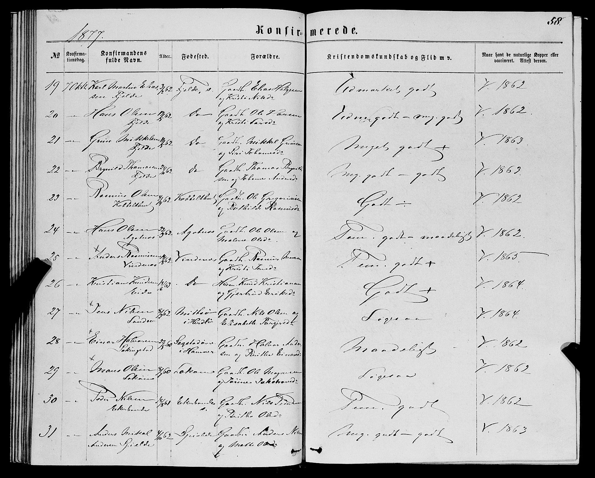 SAB, Fjell sokneprestembete, H/Haa: Ministerialbok nr. A 5, 1864-1877, s. 58