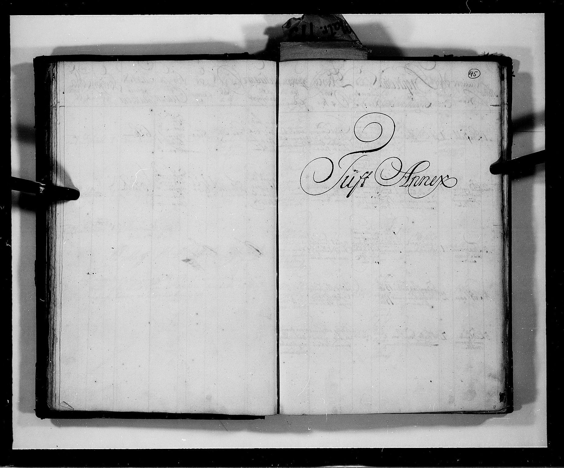 RA, Rentekammeret inntil 1814, Realistisk ordnet avdeling, N/Nb/Nbf/L0113: Numedal og Sandsvær eksaminasjonsprotokoll, 1723, s. 44b-45a