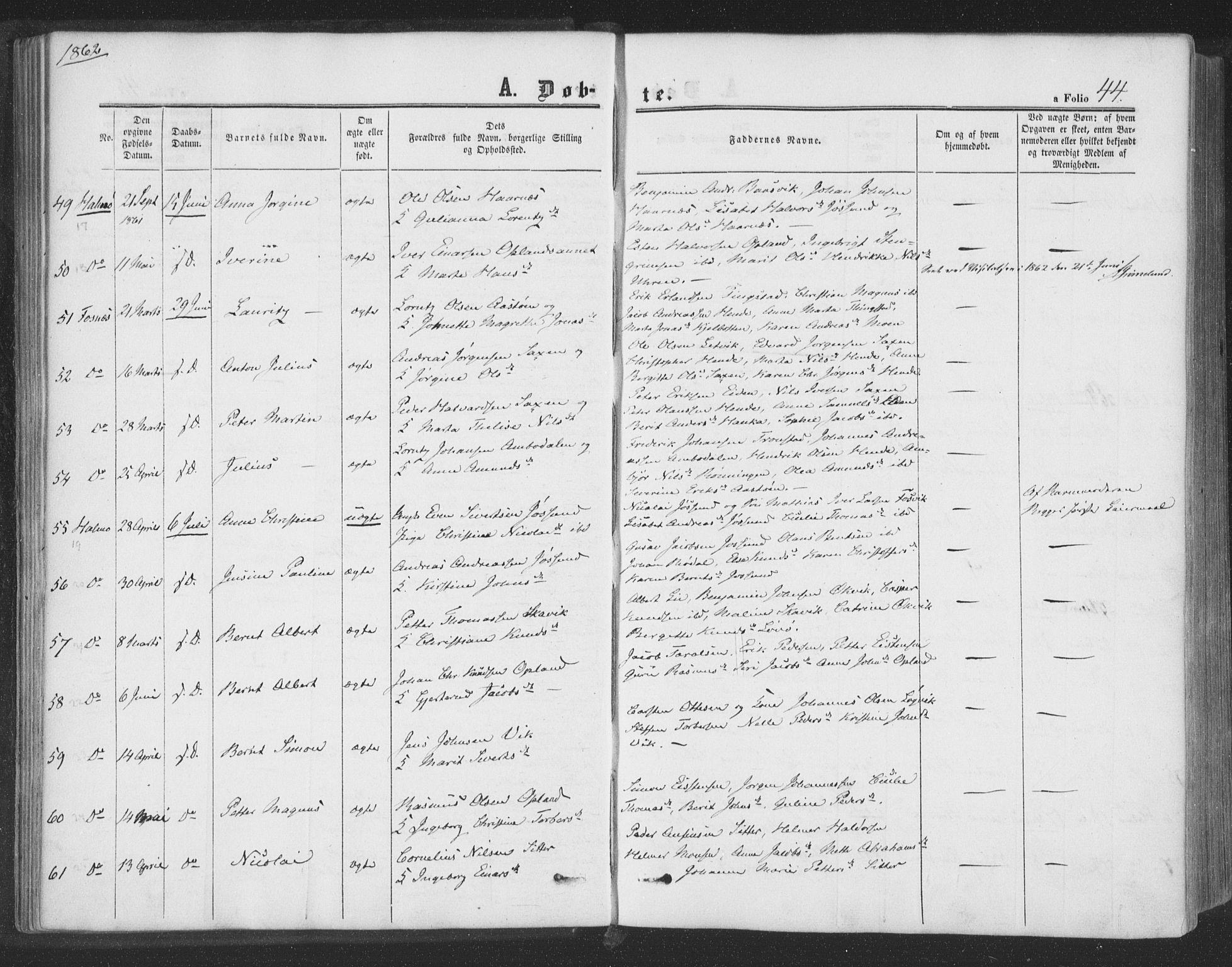 SAT, Ministerialprotokoller, klokkerbøker og fødselsregistre - Nord-Trøndelag, 773/L0615: Ministerialbok nr. 773A06, 1857-1870, s. 44