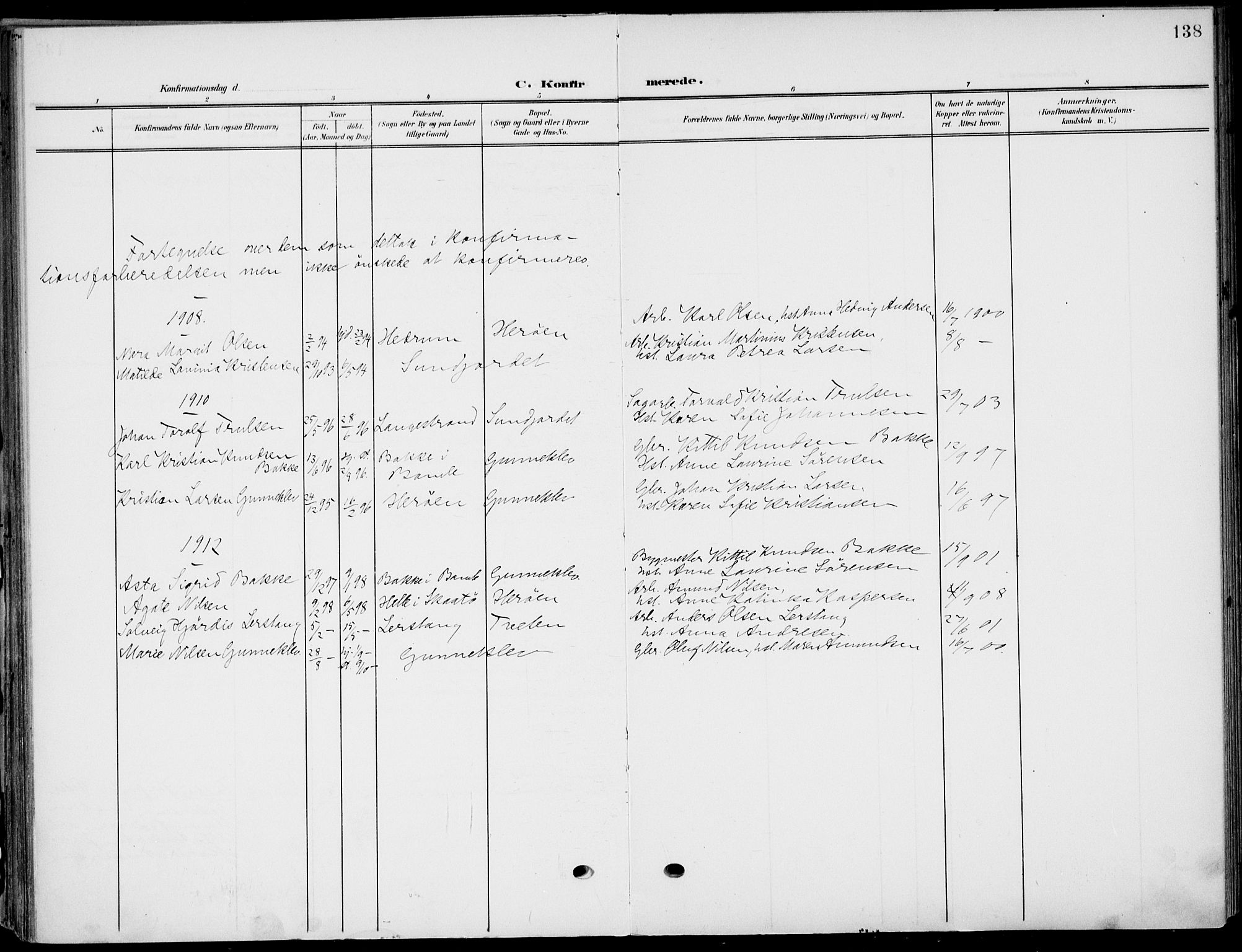 SAKO, Eidanger kirkebøker, F/Fa/L0013: Ministerialbok nr. 13, 1900-1913, s. 138