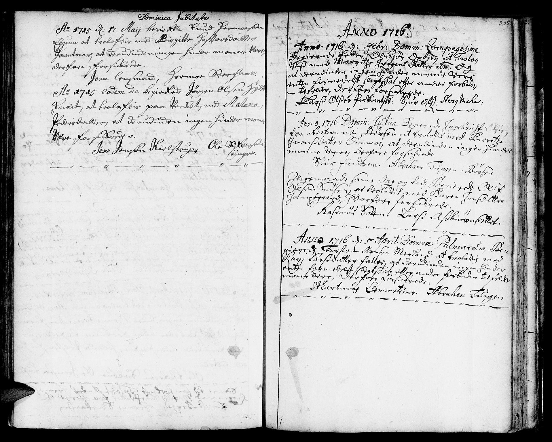 SAT, Ministerialprotokoller, klokkerbøker og fødselsregistre - Sør-Trøndelag, 668/L0801: Ministerialbok nr. 668A01, 1695-1716, s. 304-305