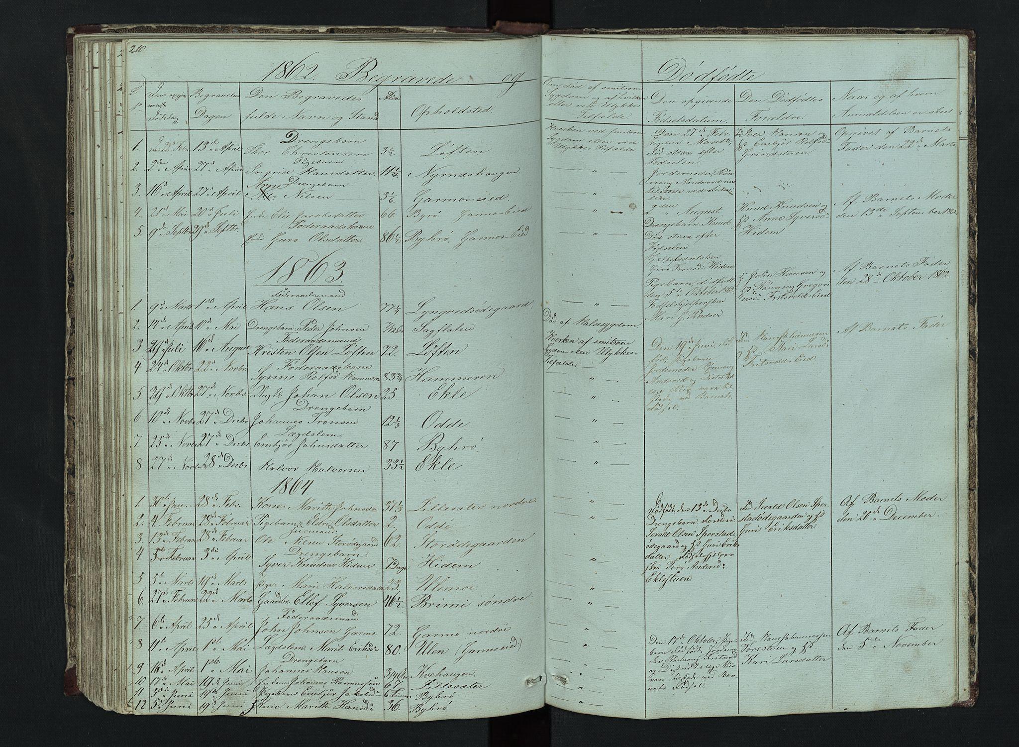 SAH, Lom prestekontor, L/L0014: Klokkerbok nr. 14, 1845-1876, s. 210-211