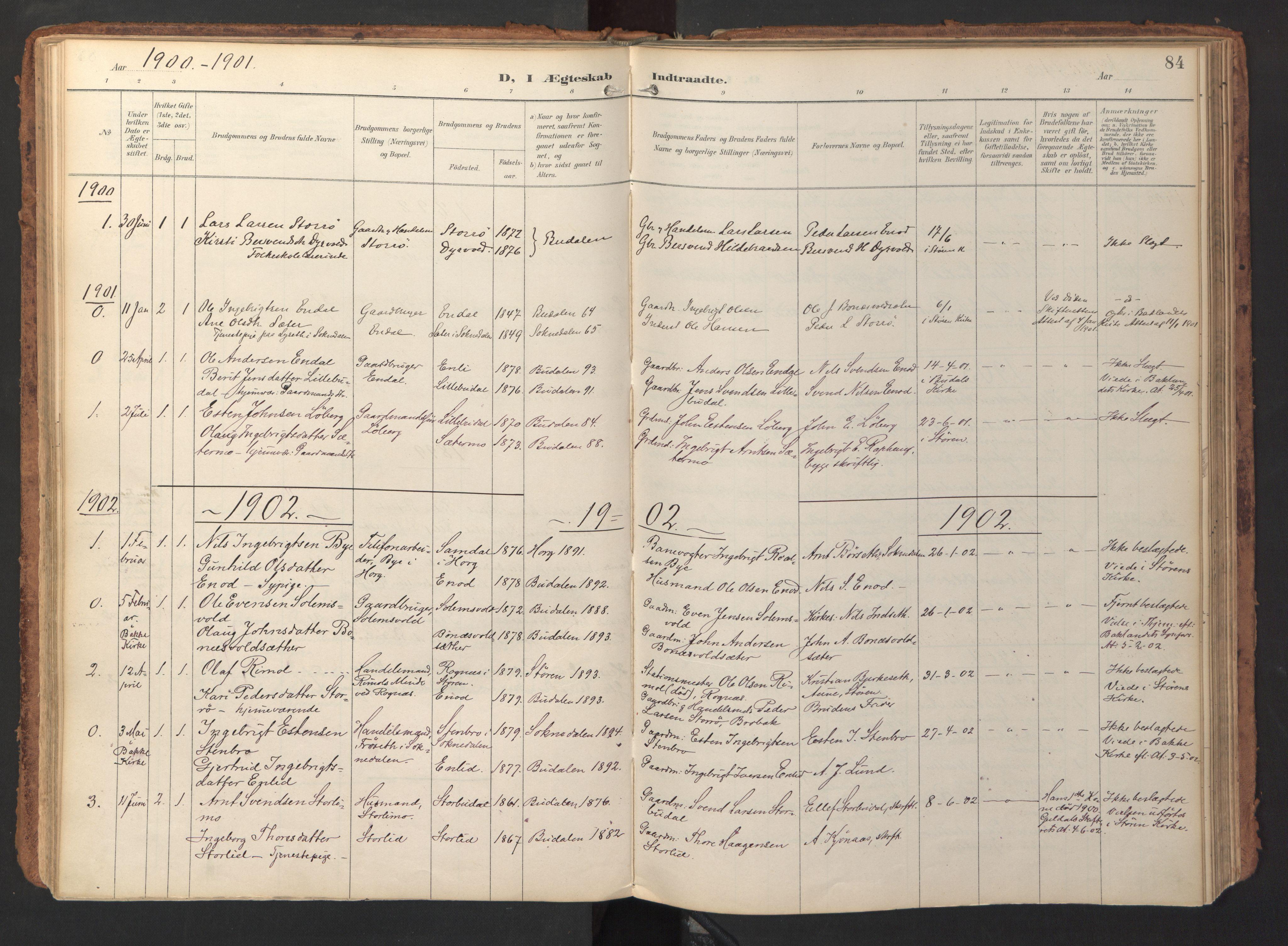 SAT, Ministerialprotokoller, klokkerbøker og fødselsregistre - Sør-Trøndelag, 690/L1050: Ministerialbok nr. 690A01, 1889-1929, s. 84