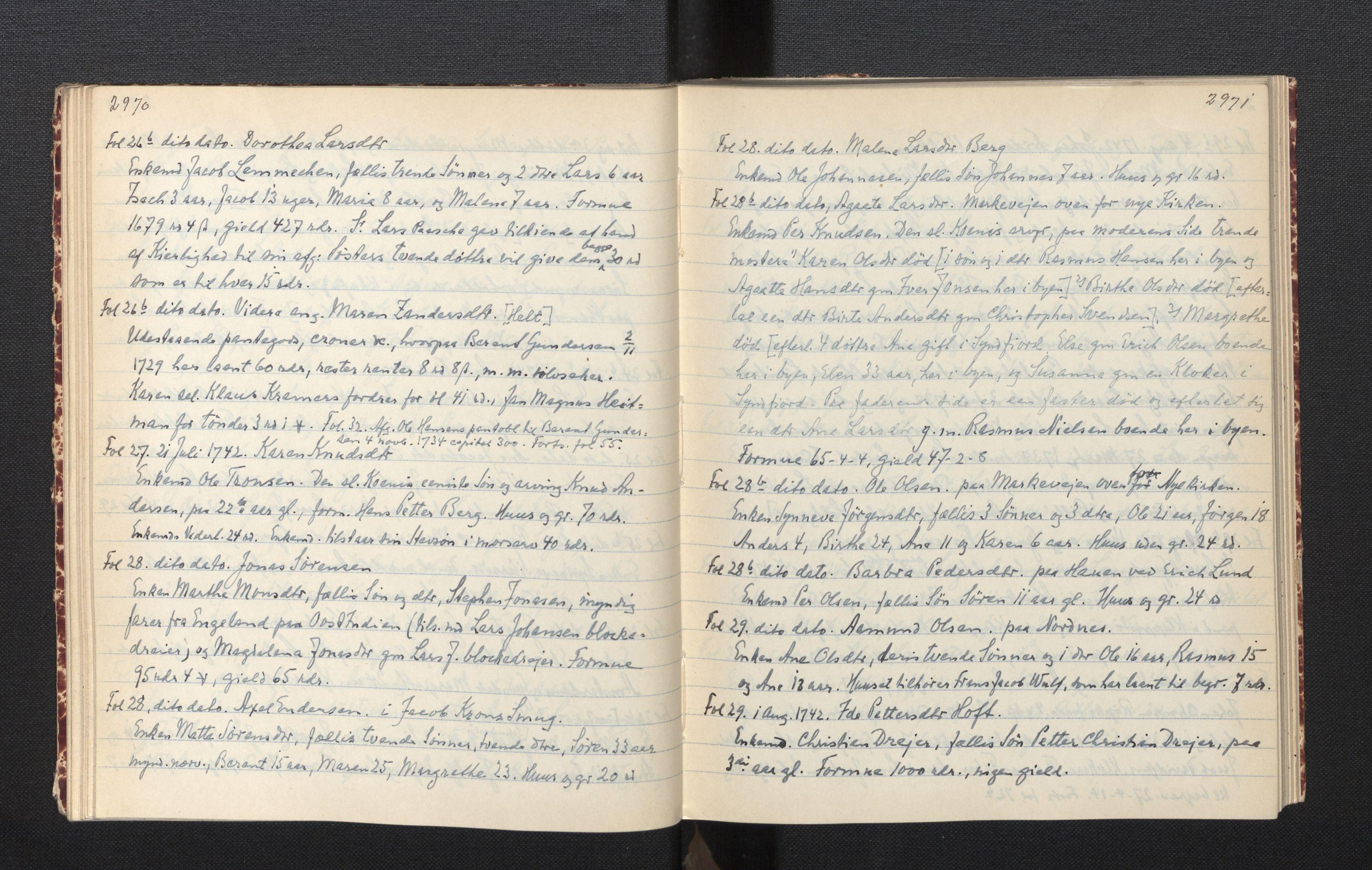 SAB, Sollied, Olaf og Thora - samlinger, 01/L0012: Skifte: Utdrag av skiftejournaler, 1740-1748