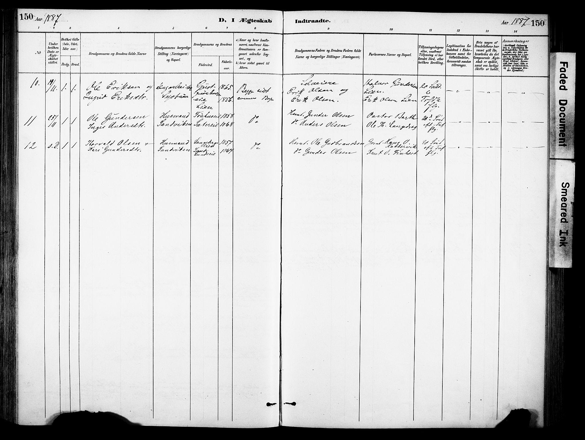 SAH, Sør-Aurdal prestekontor, Ministerialbok nr. 9, 1886-1906, s. 150
